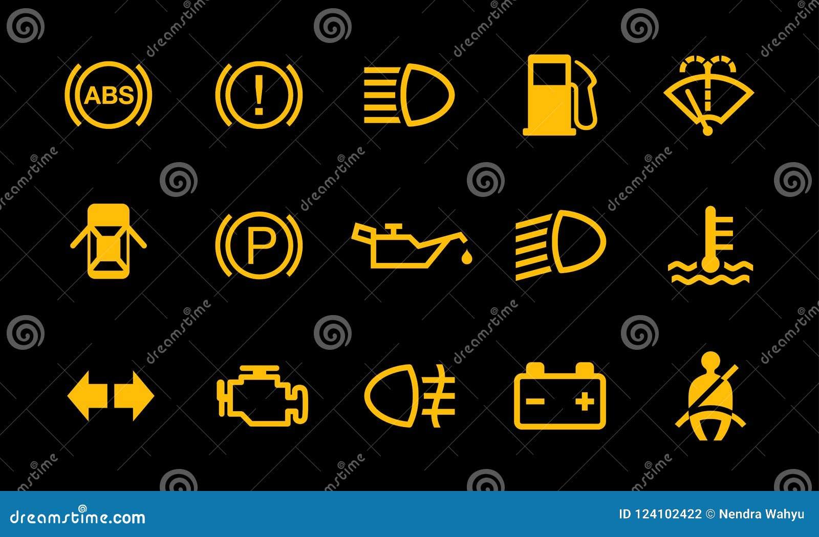 Simboli del sistema dell indicatore del segno del cruscotto dell automobile