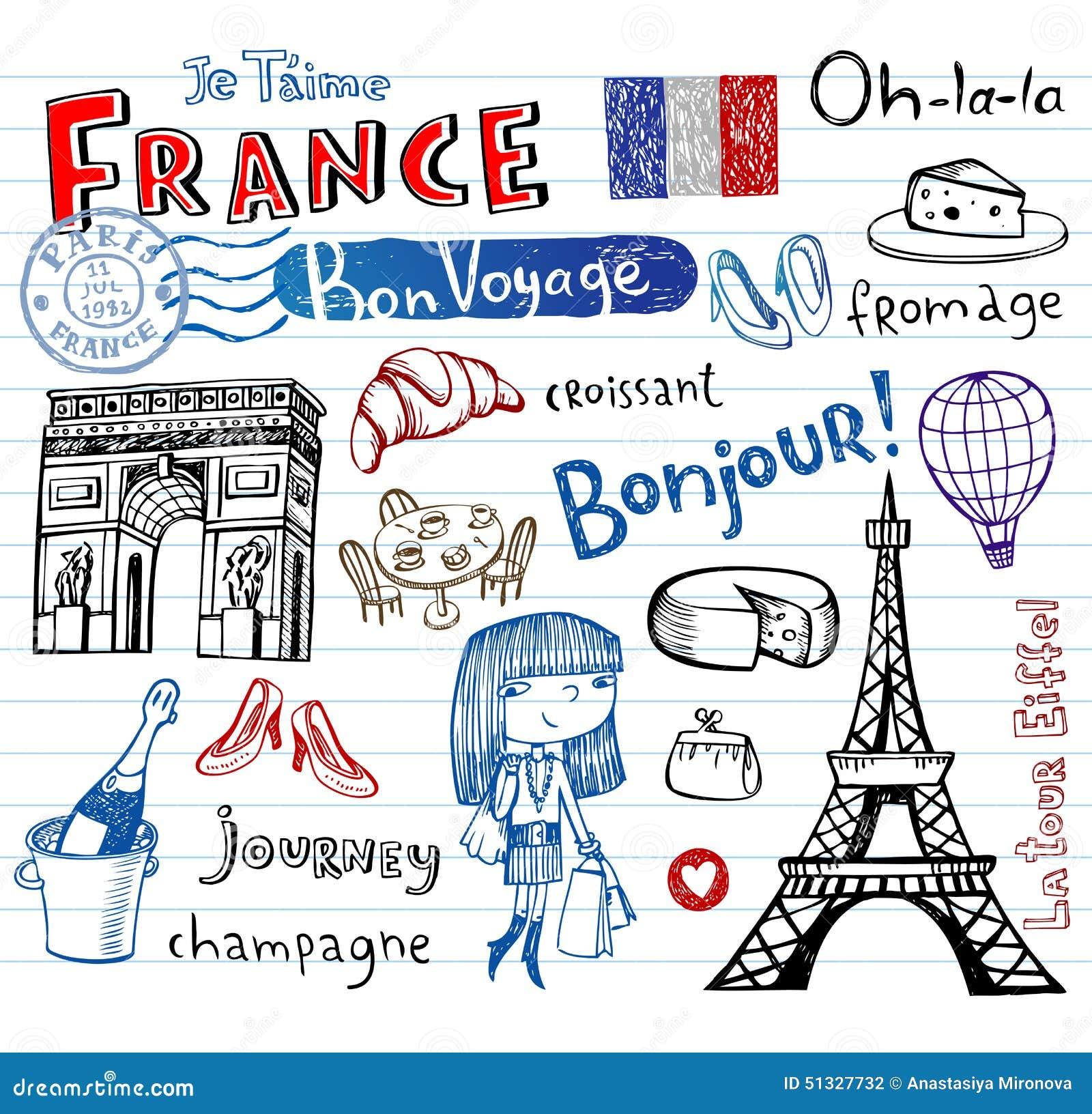 Simboli della francia come scarabocchi funky illustrazione - Simboli di immagini della francia ...