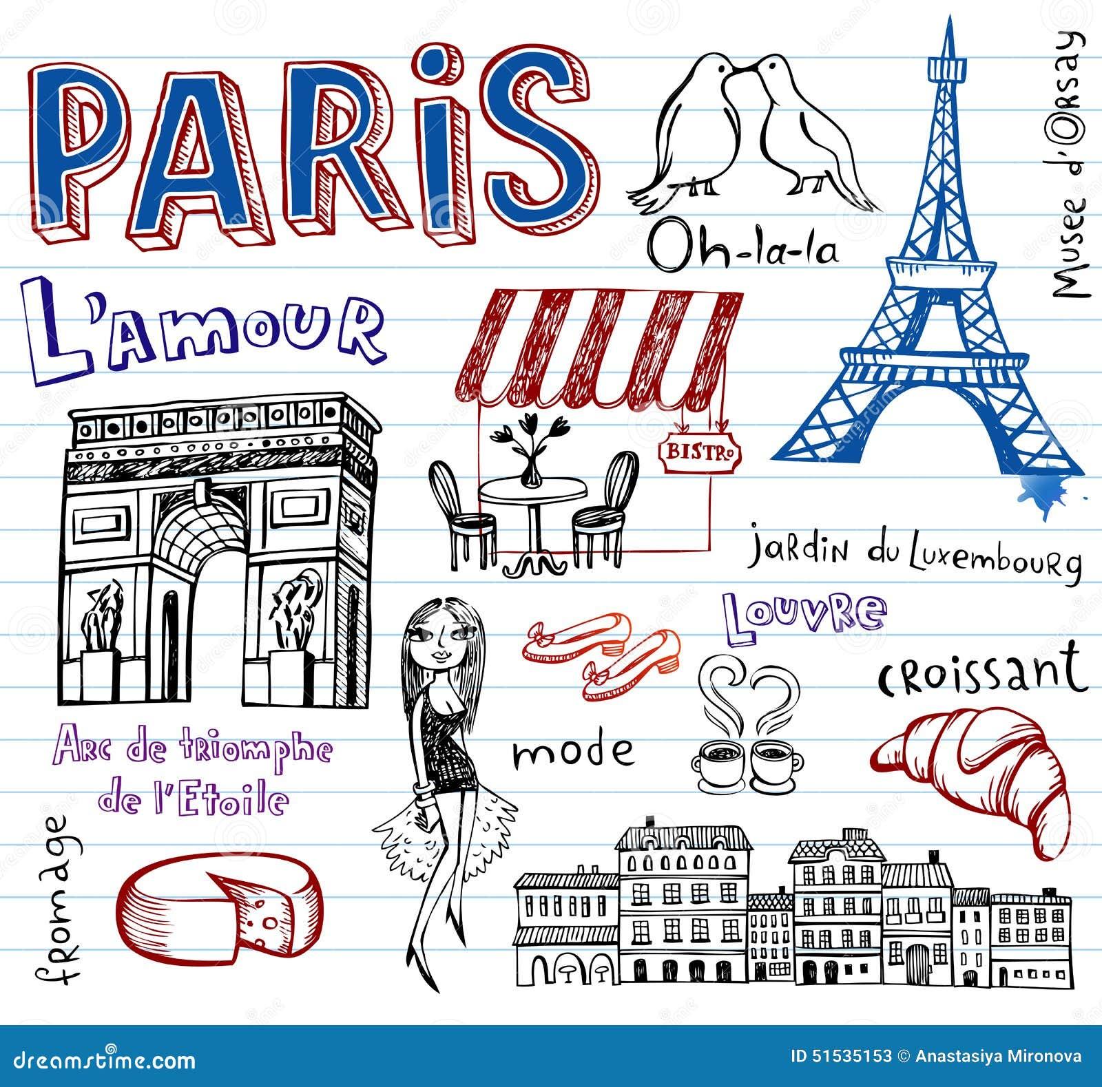 Simboli della francia come scarabocchi funky illustrazione for Disegni di casa francese