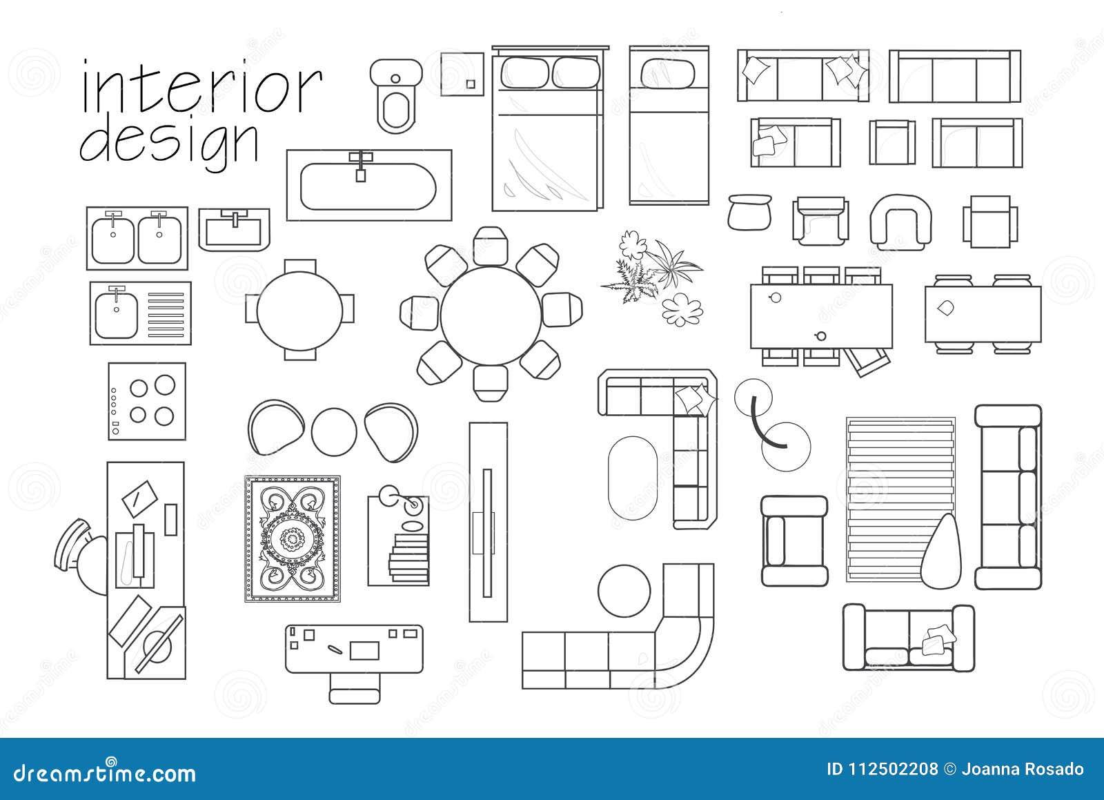 Simboli Della Pianta Di Interior Design Del Mobilia Di