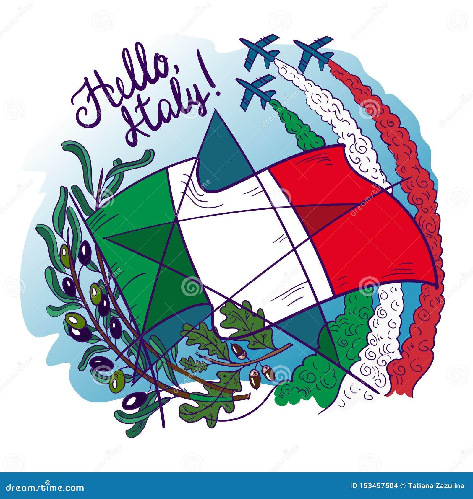 Simboli delle frecce tricolour di tricolori dell Italia Frecce nel cielo, nel ramo di ulivo, nella quercia, nella bandiera e nell