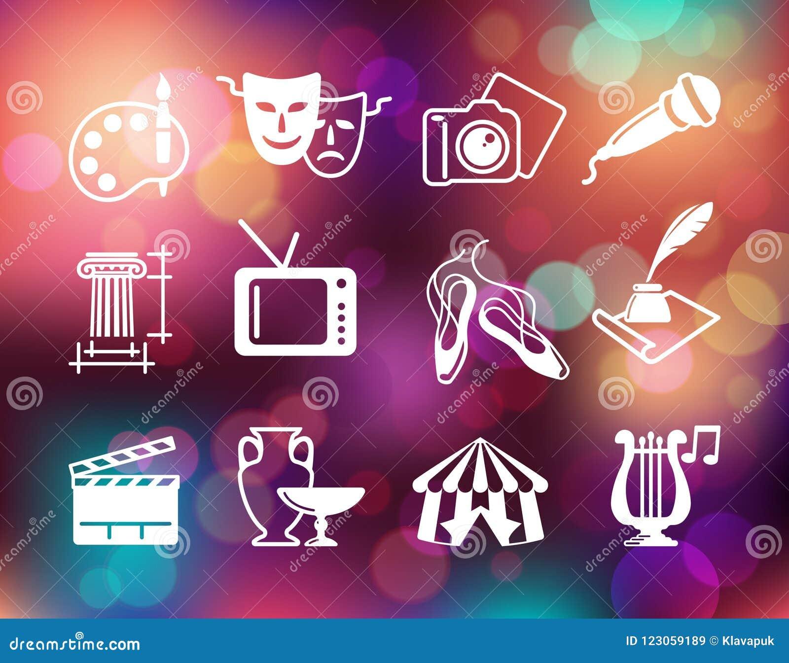 Simboli di cultura, di arti e di spettacolo sui precedenti variopinti con le luci defocused