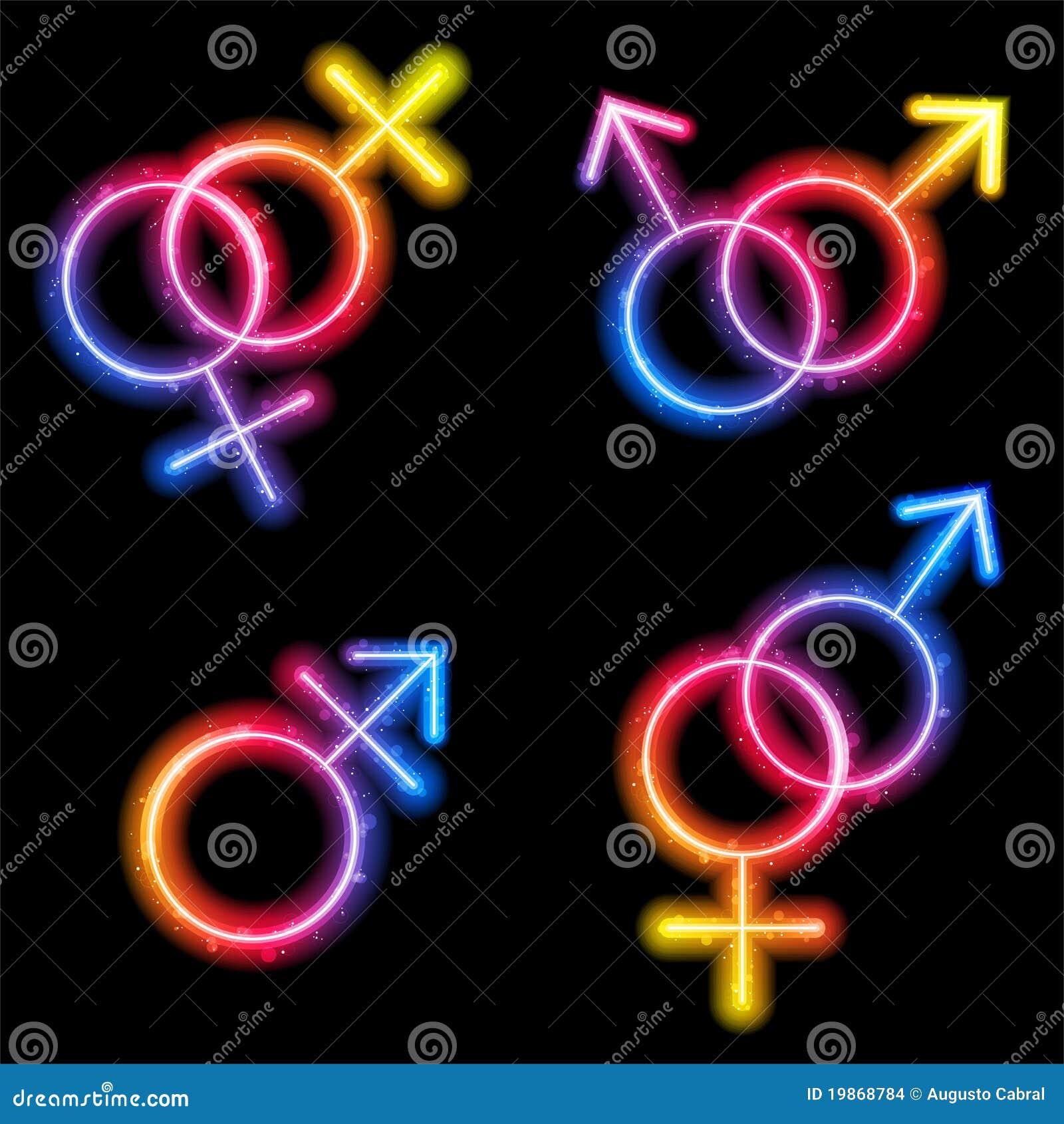 Neon del laser di simboli di genere del maschio, della femmina e del ...