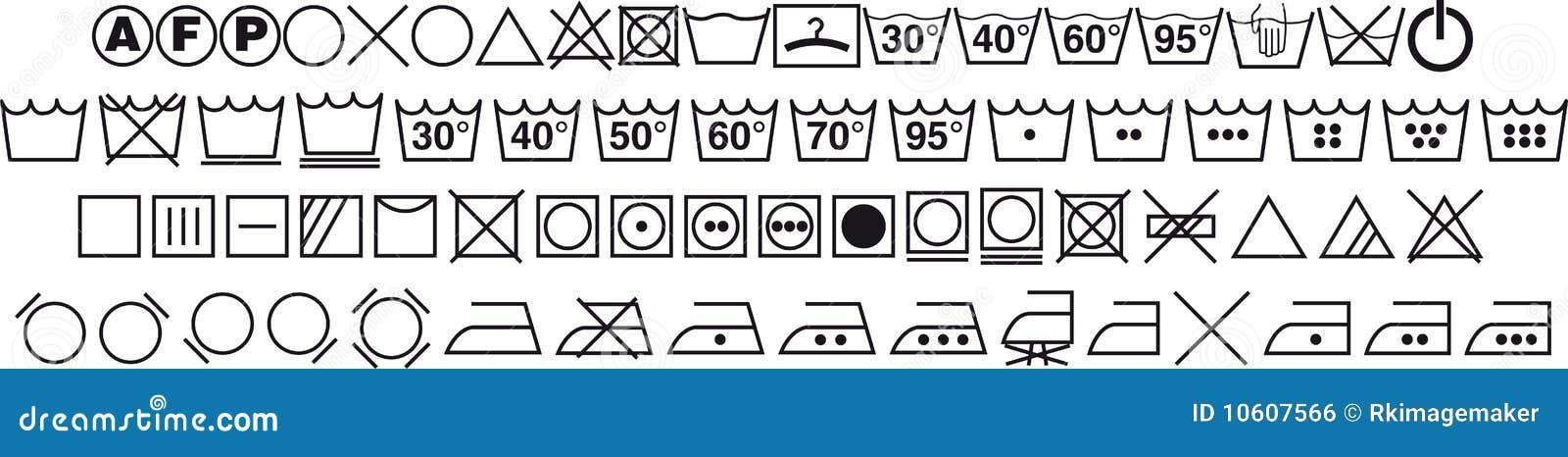 simboli di lavaggio illustrazione vettoriale illustrazione di calore 10607566. Black Bedroom Furniture Sets. Home Design Ideas