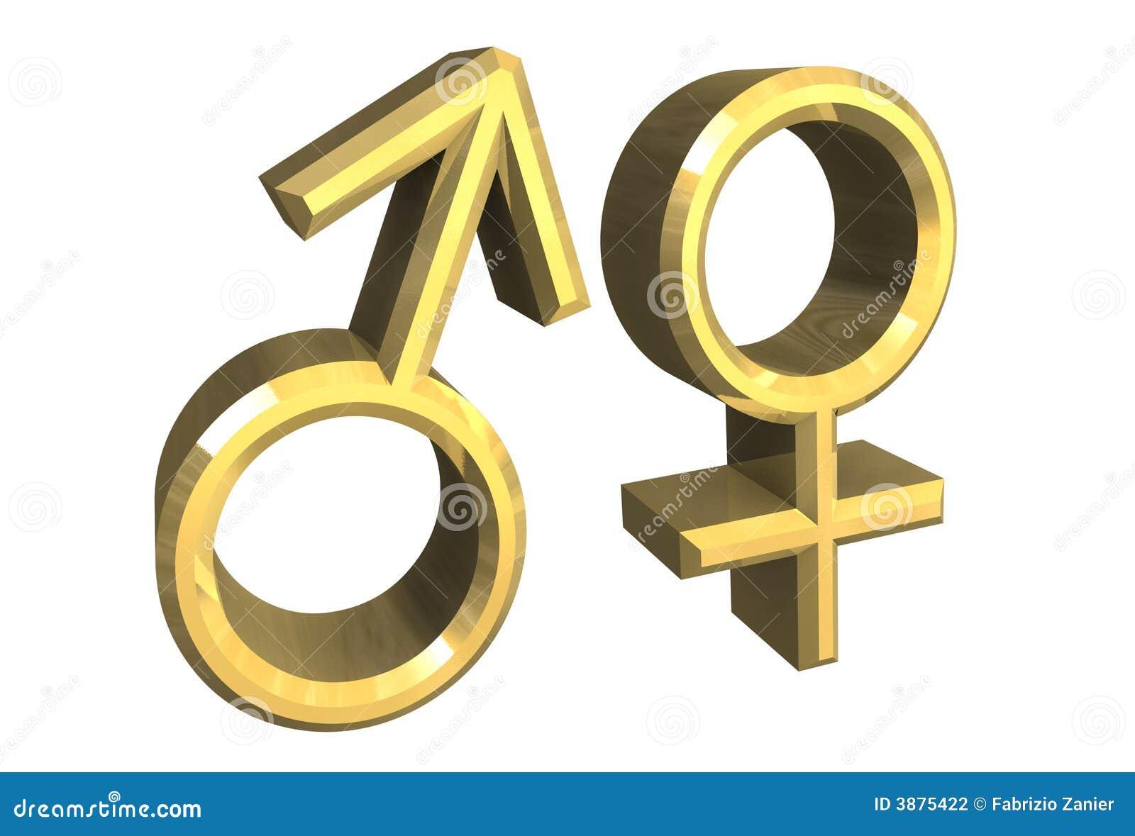 Simboli di sesso maschio e femminile (3D)