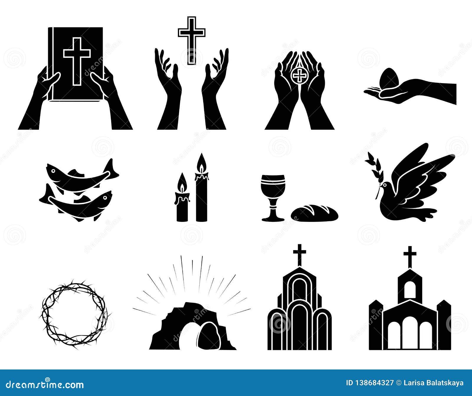 Simboli e segni cristiani religiosi Insieme delle icone