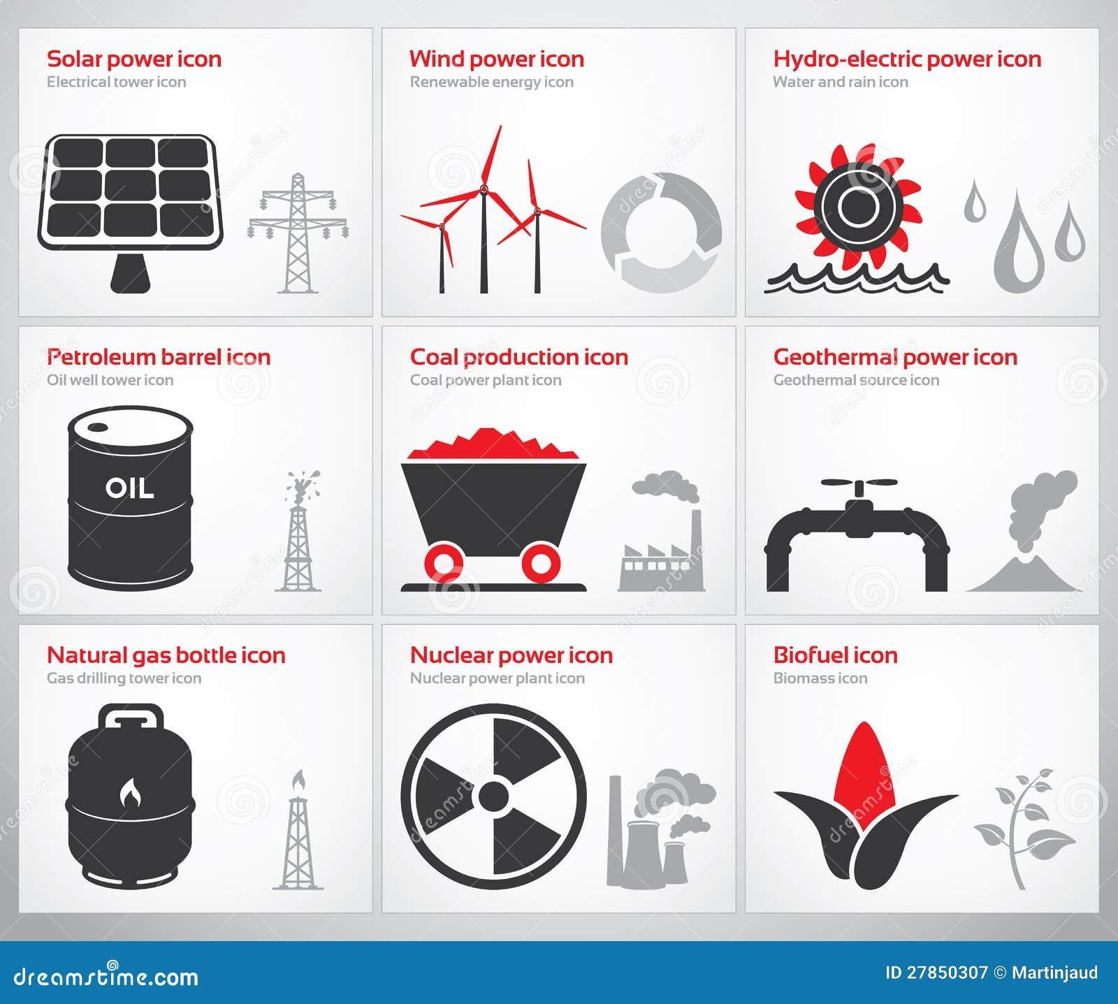 Simboli Ed Icone Di Energia Fotografia Stock Libera Da