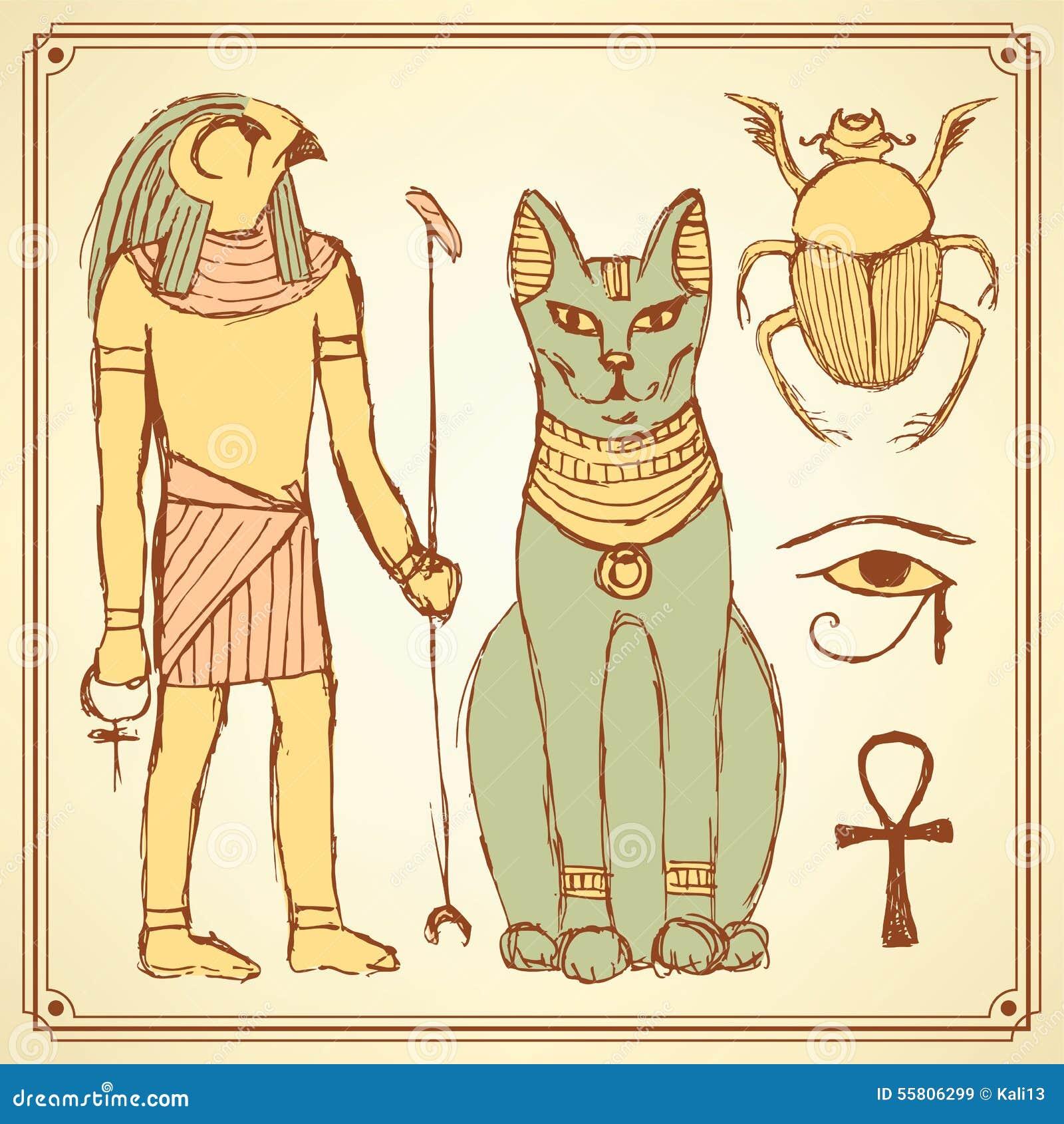 Simboli egiziani di schizzo nello stile d annata
