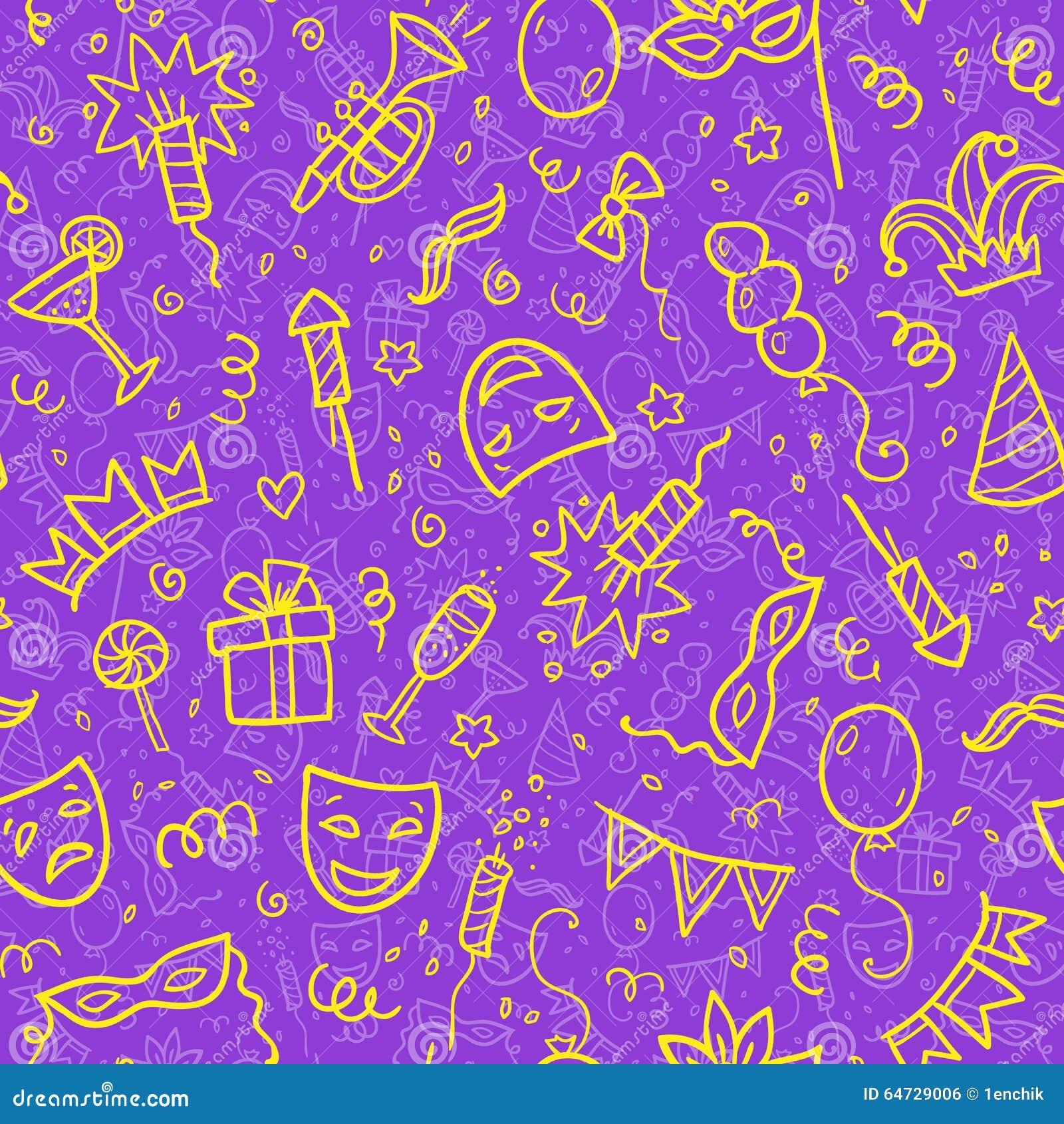Simboli gialli di carnevale nello stile di scarabocchio sulla viola