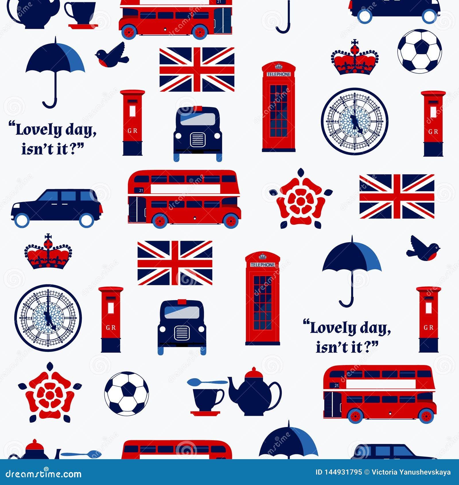 Simboli inglesi: taxi, contenitore di posta, telefono, teiera e tazza, doppio Decker Bus, lampada