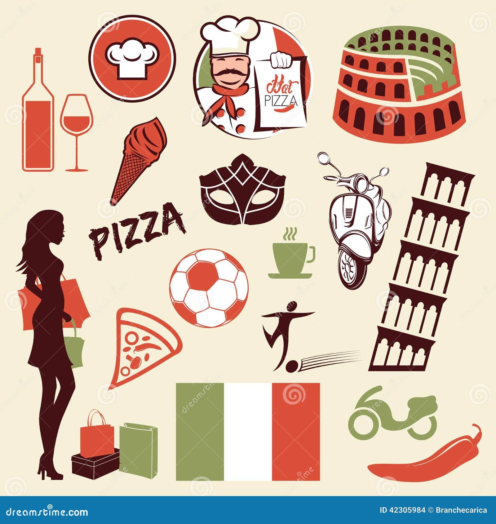 Simboli Italiani Illustrazione Vettoriale - Immagine: 42305984