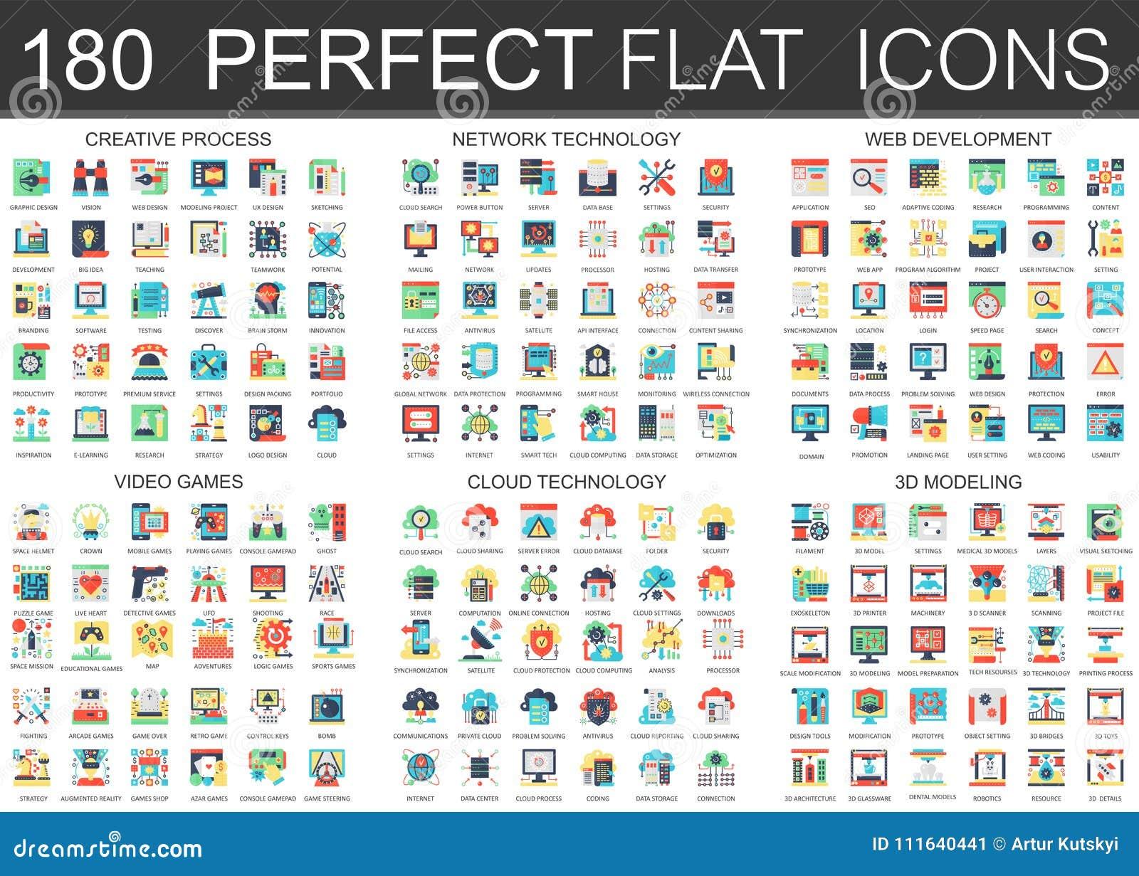 180 simboli piani complessi di concetto delle icone di vettore del processo creativo, tecnologia di rete, sviluppo di web, video