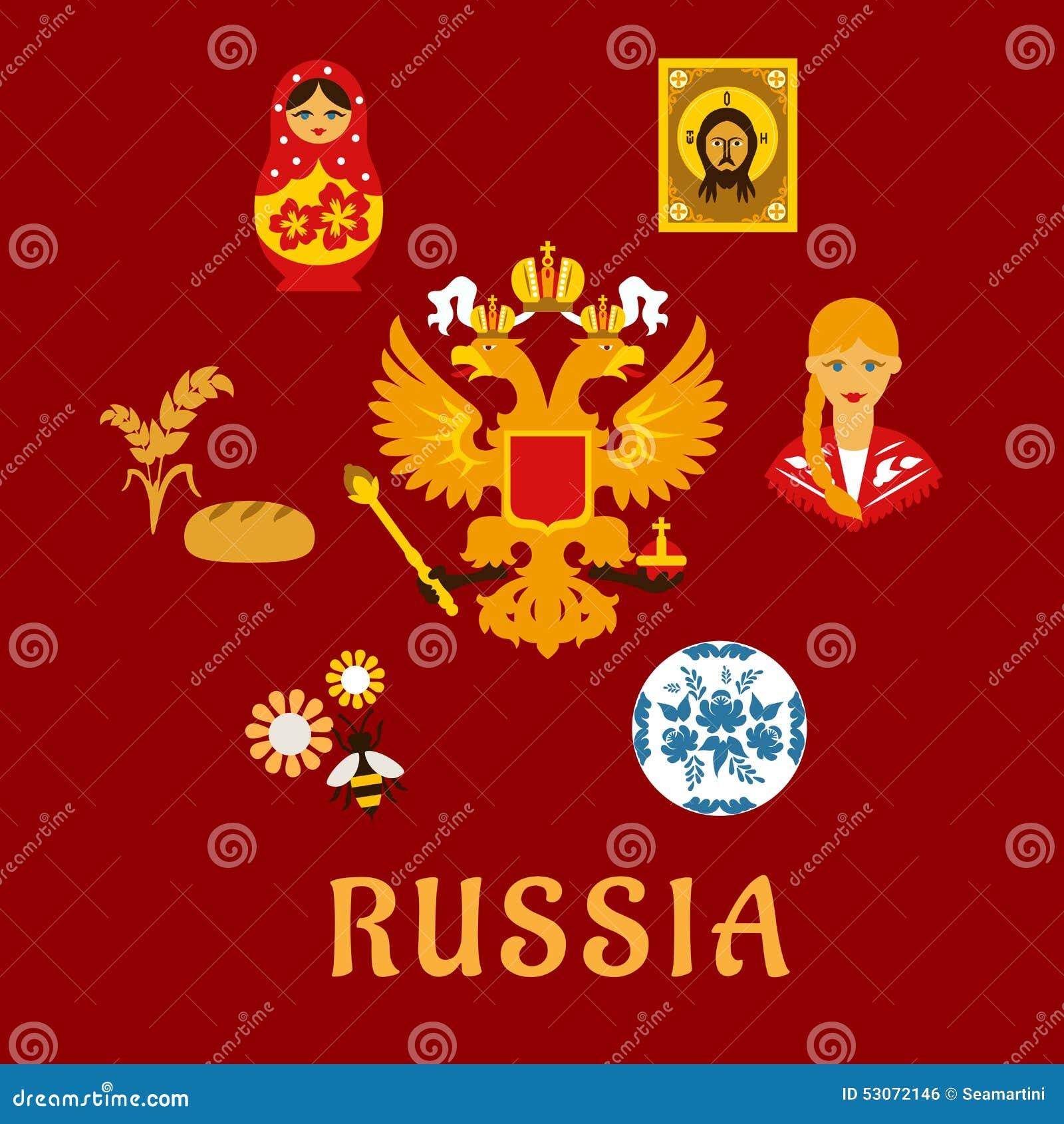 simboli piani nazionali tradizionali russi illustrazione