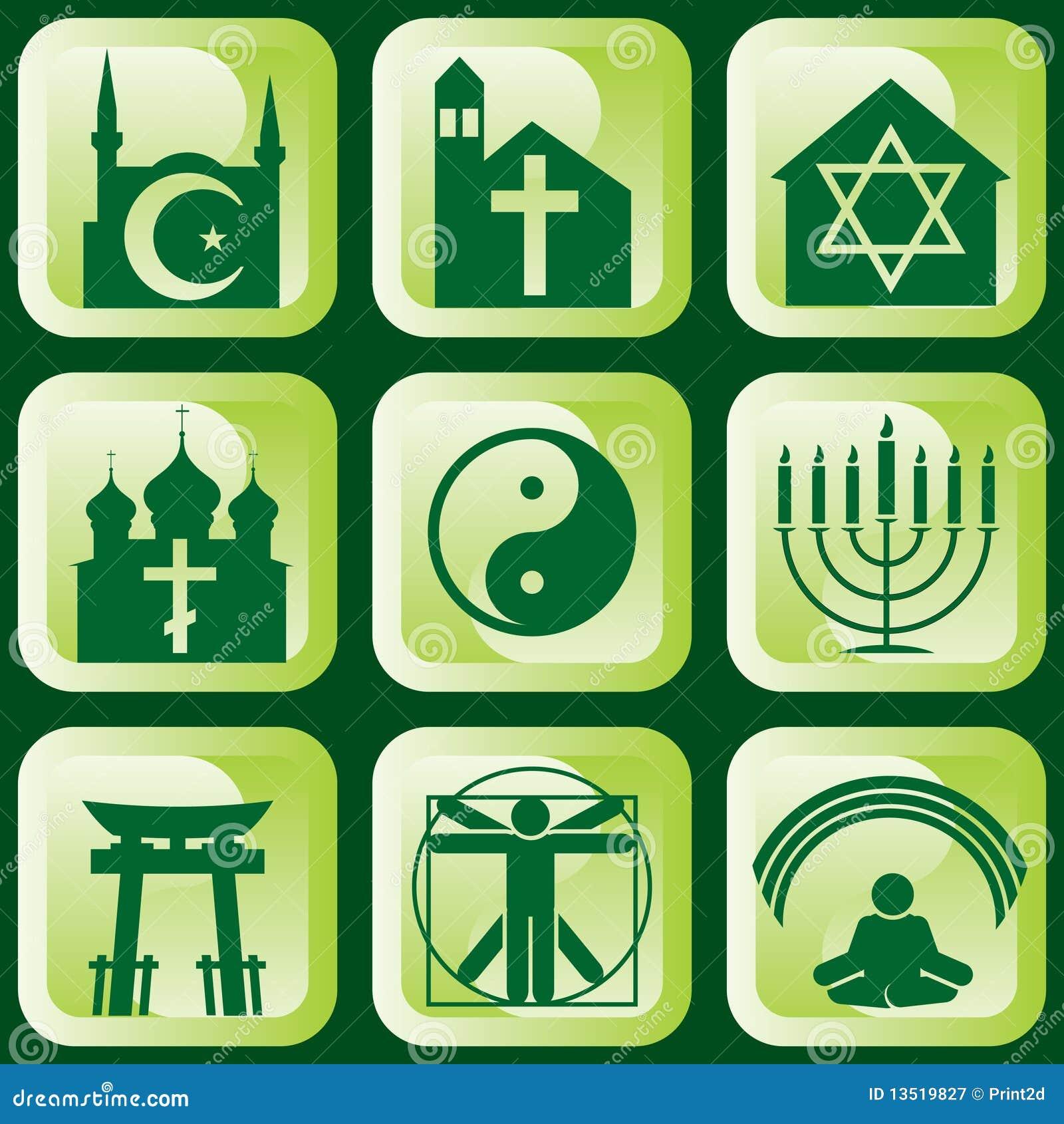 Insieme delle icone dei segni e dei simboli religiosi.