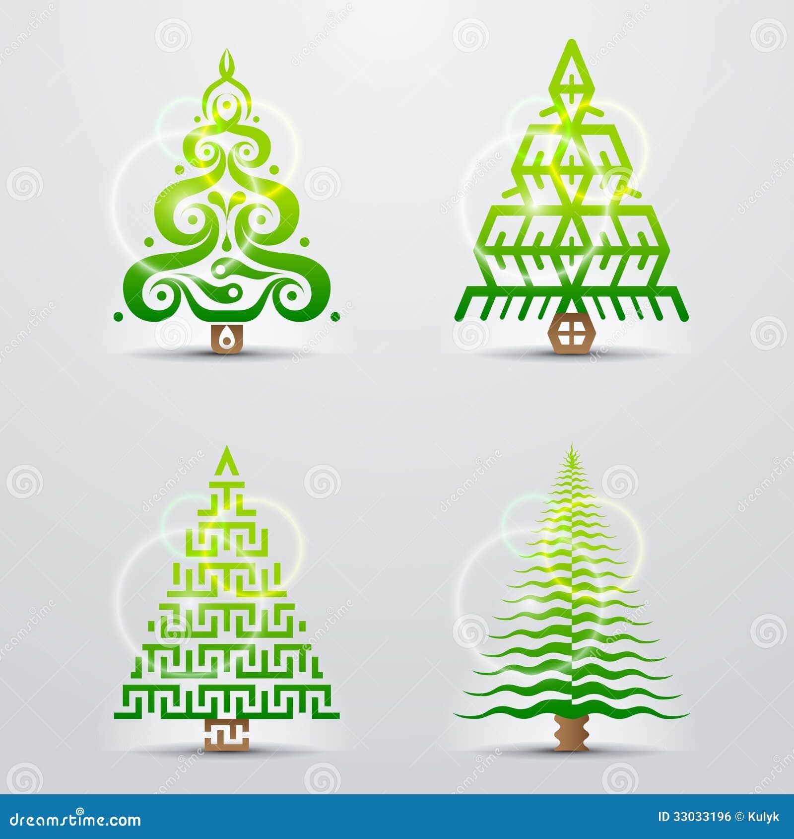 Simboli Stilizzati Dellalbero Di Natale Illustrazione Vettoriale