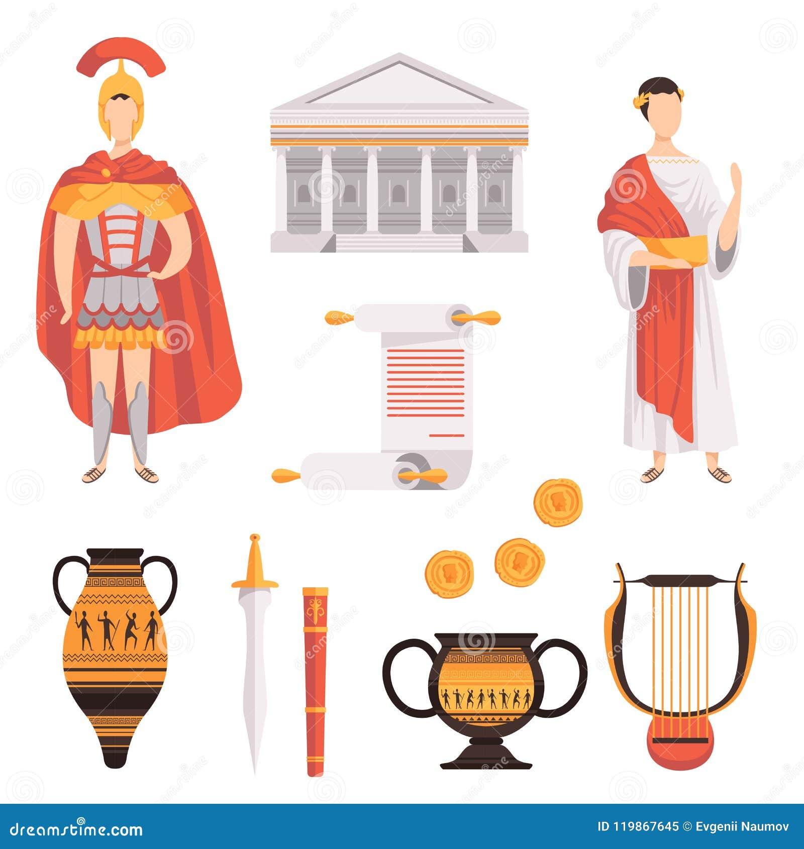 Simboli tradizionali delle illustrazioni stabilite antiche di vettore di Roman Empire su un fondo bianco