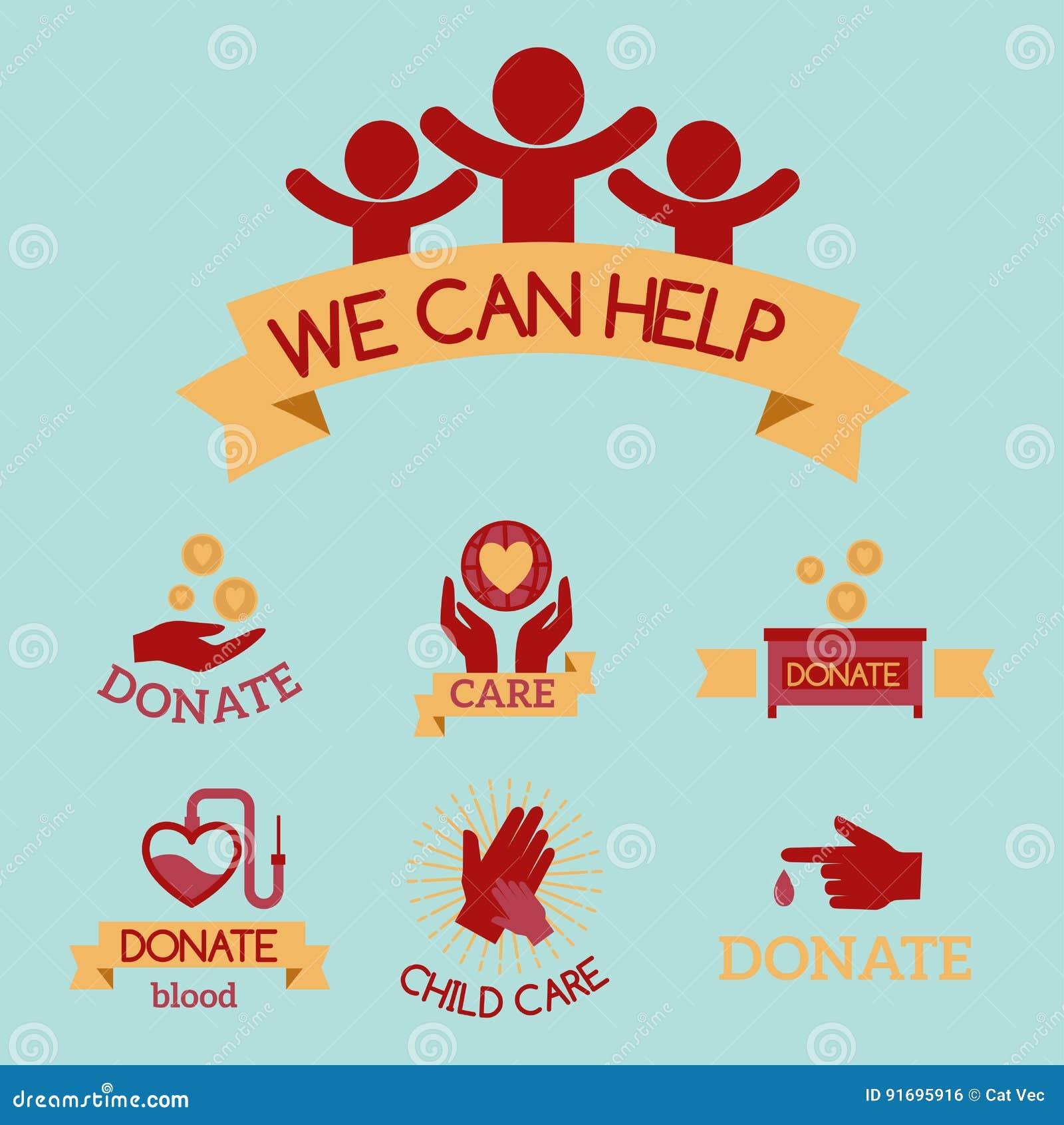Simboli umanitari stabiliti di sostegno dell aiuto di speranza della mano di consapevolezza delle icone di carità di vettore ross