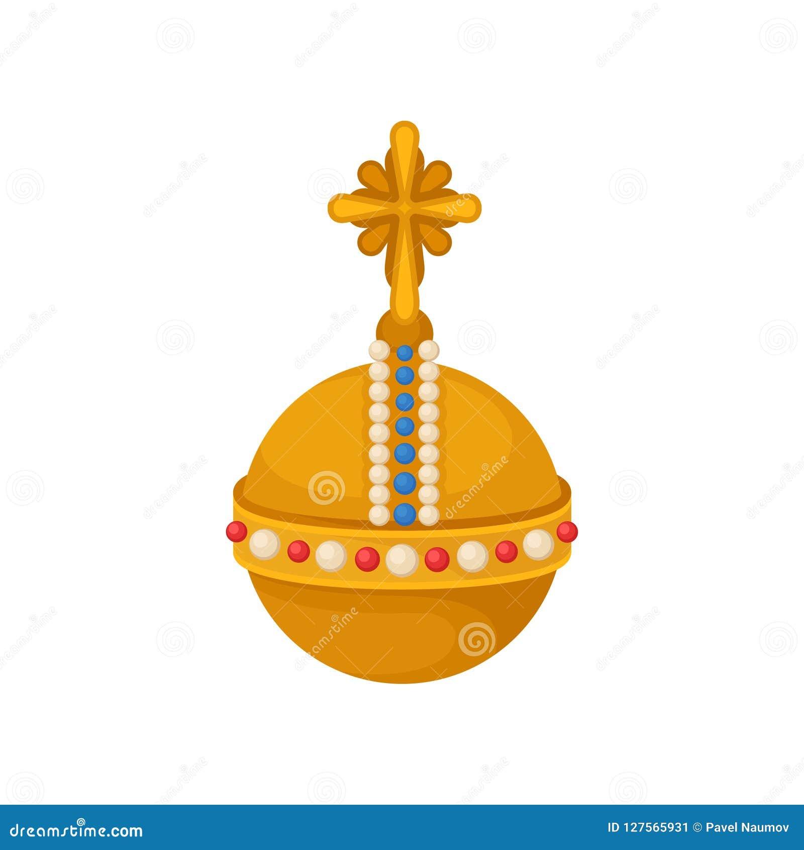 Simbolo araldico del globo dorato, illustrazione di vettore di attributo della monarchia su un fondo bianco