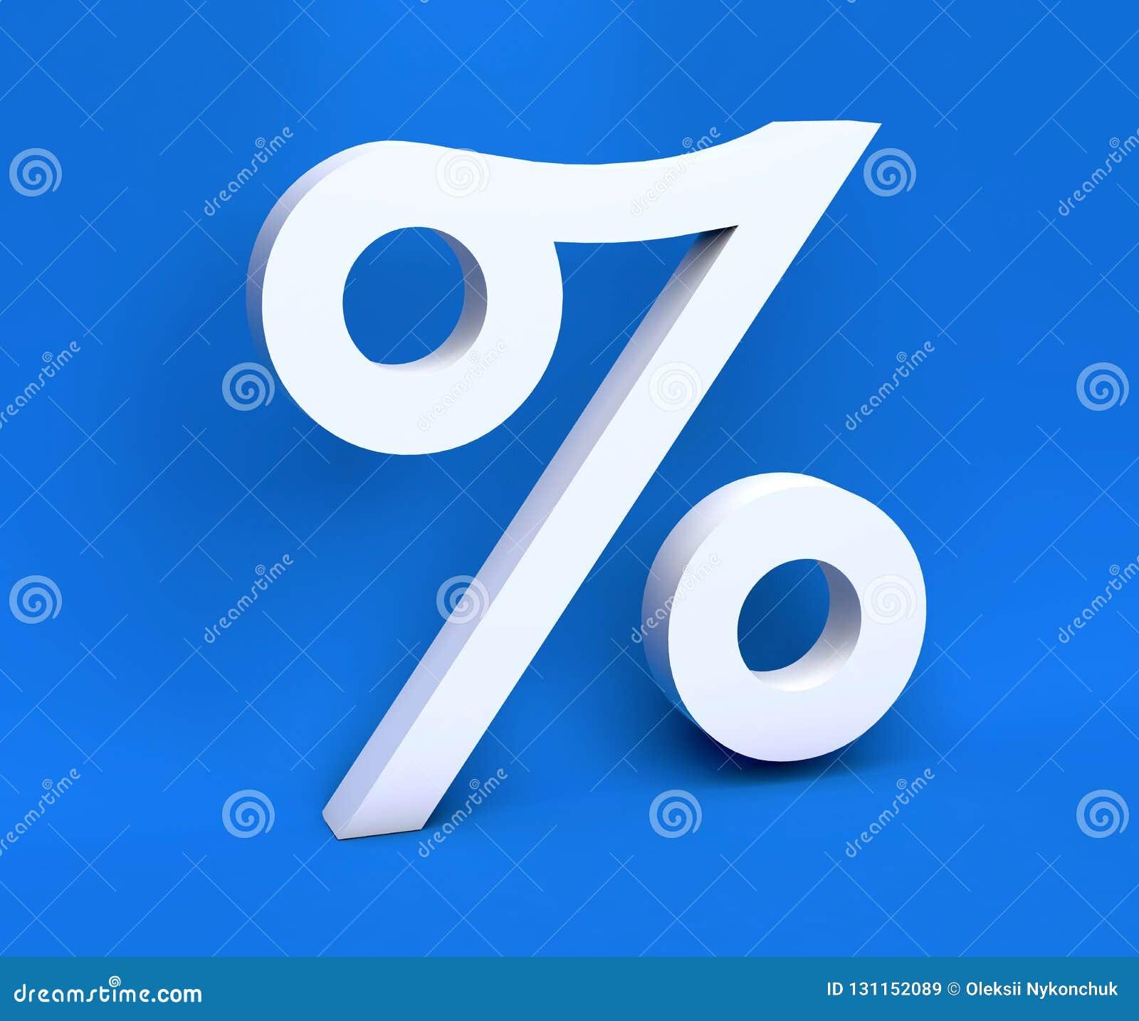 """Simbolo bianco """"  """"di simbolo bianco delle percentuali su un fondo blu 3d rendono"""
