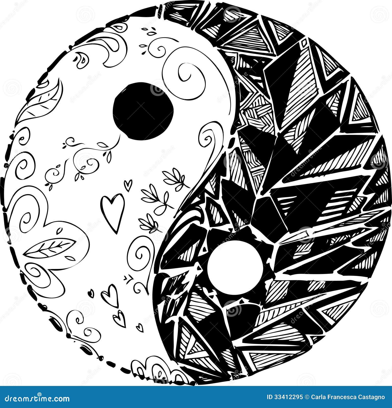 Pace Bianco E Nero simbolo in bianco e nero di tao illustrazione vettoriale