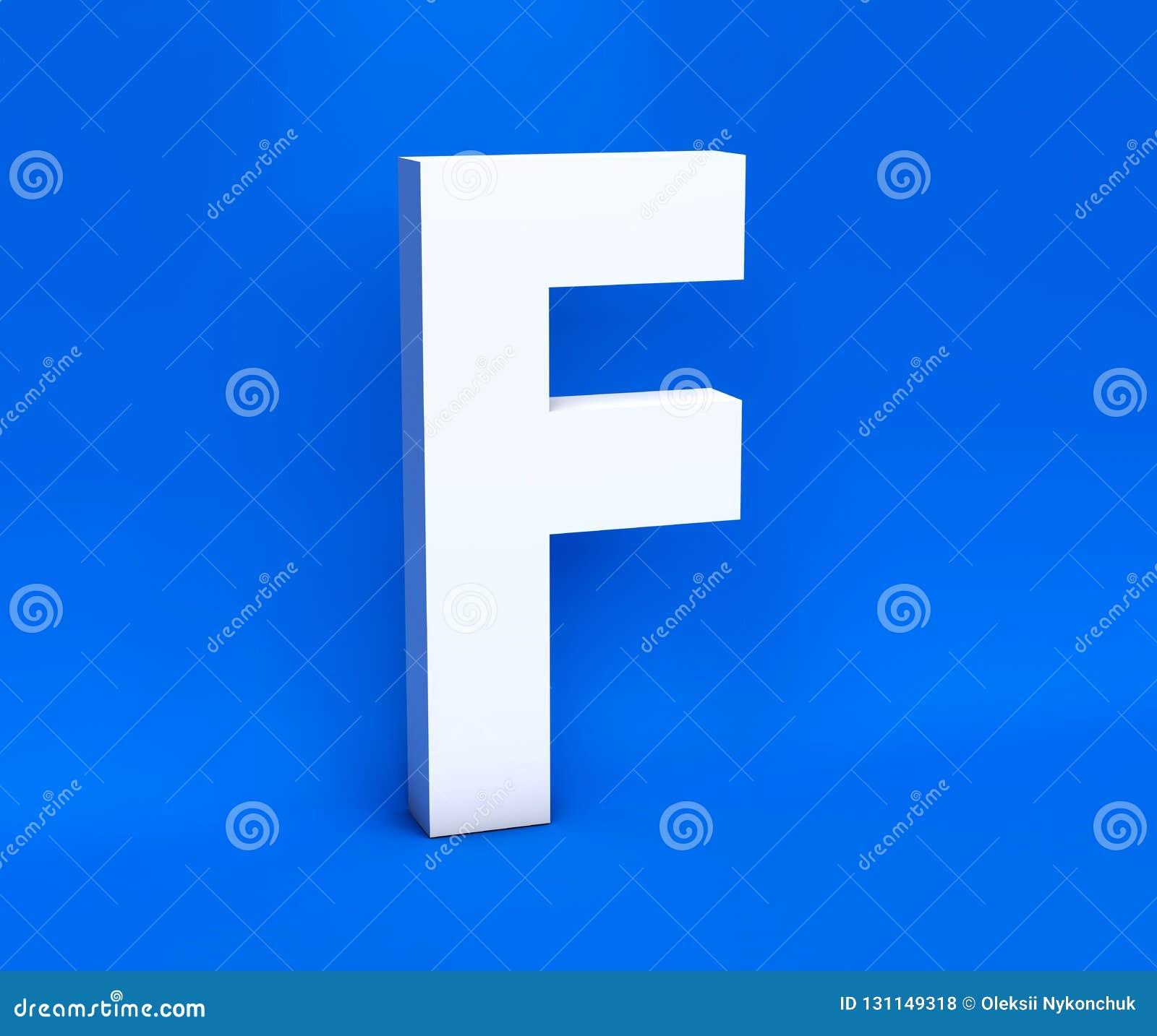 Simbolo bianco F su un fondo blu 3d rendono