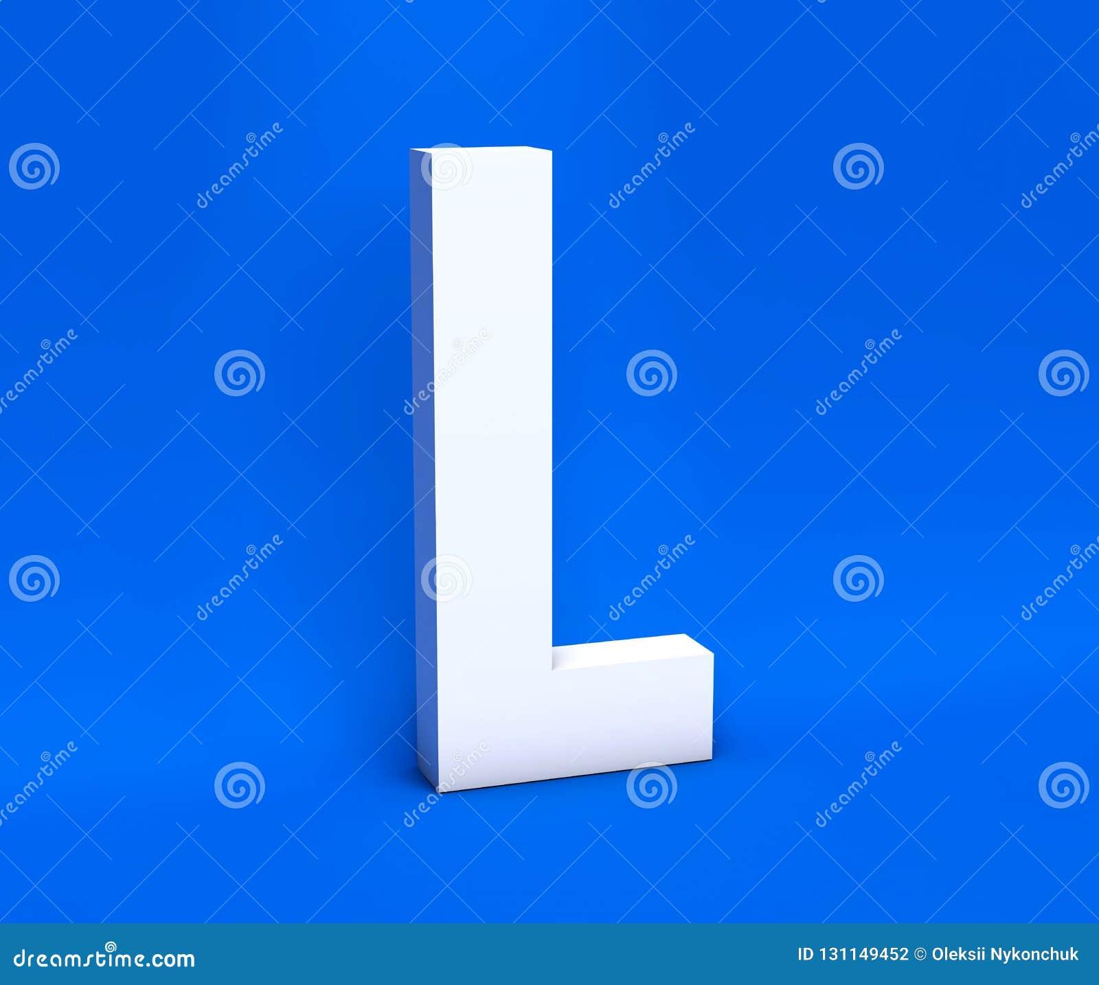Simbolo bianco L su un fondo blu 3d rendono