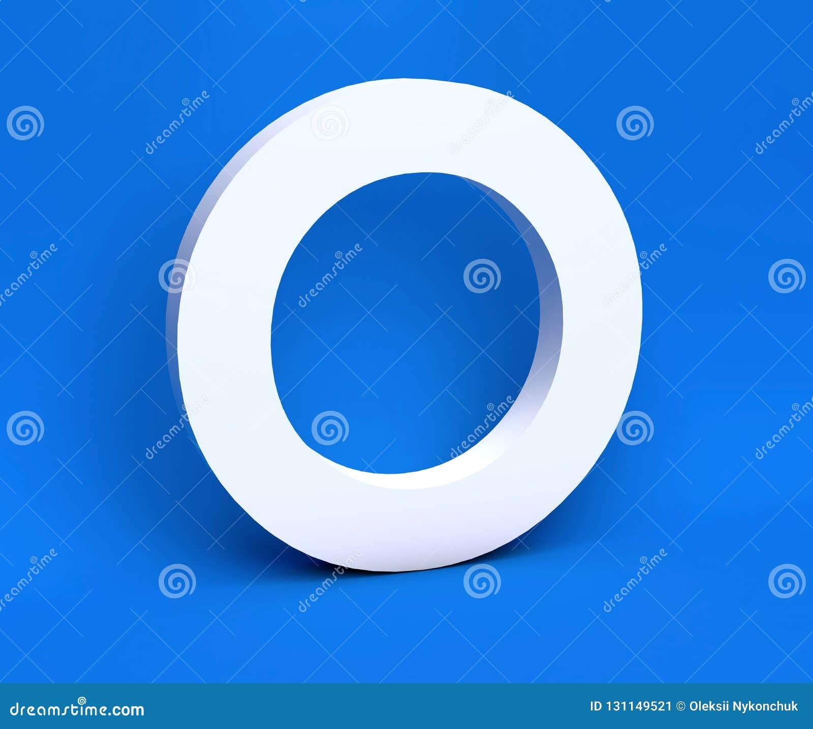 Simbolo bianco O su un fondo blu 3d rendono