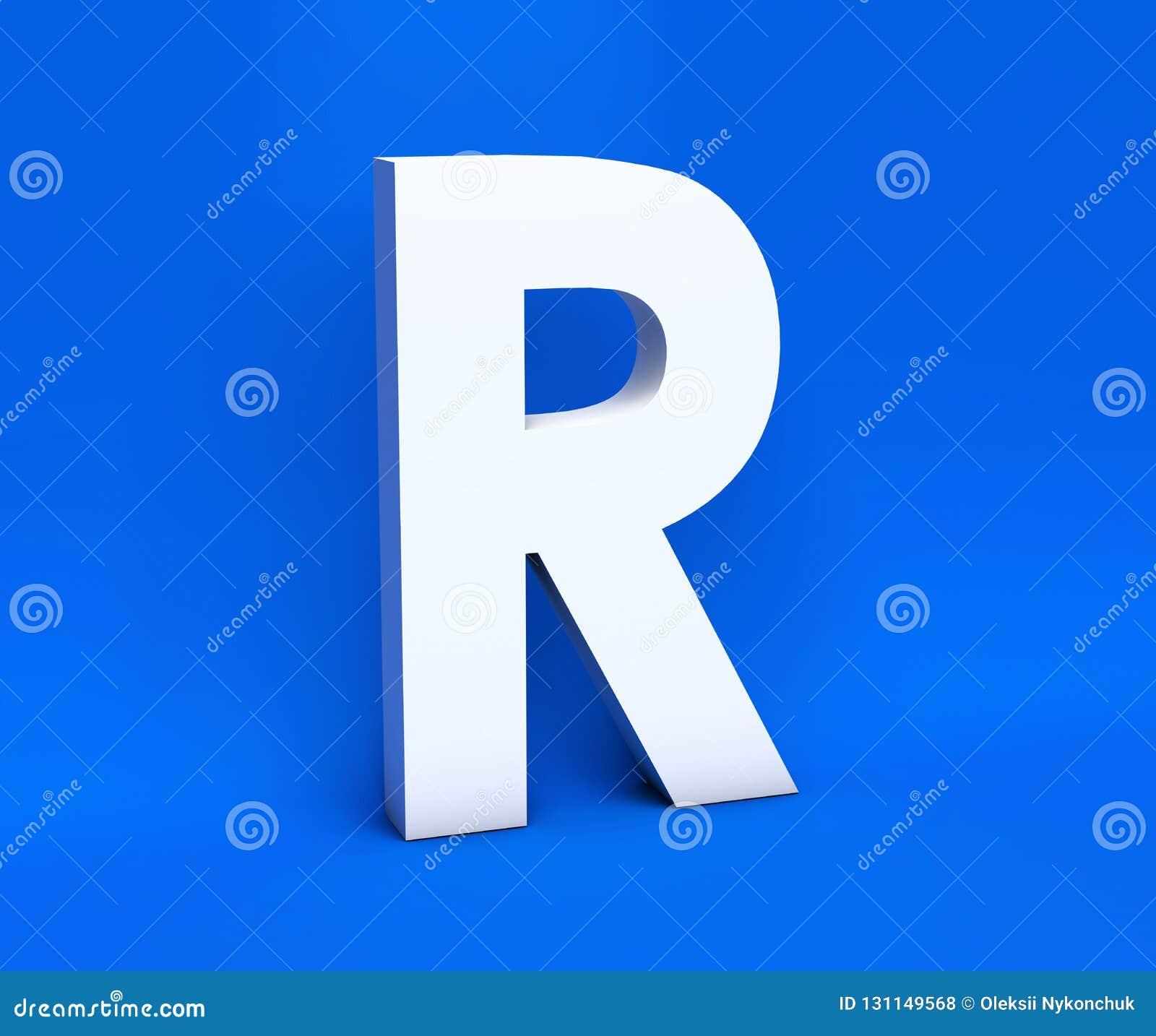Simbolo bianco R su un fondo blu 3d rendono
