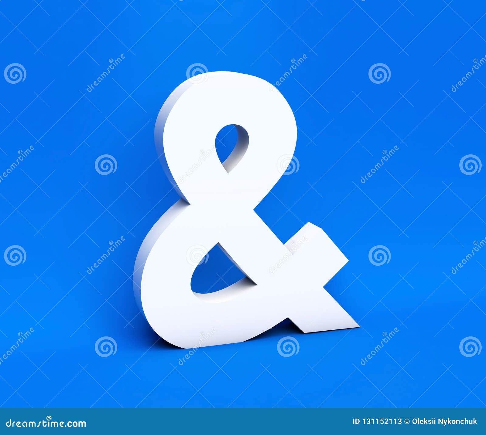 Simbolo bianco & su un fondo blu 3d rendono