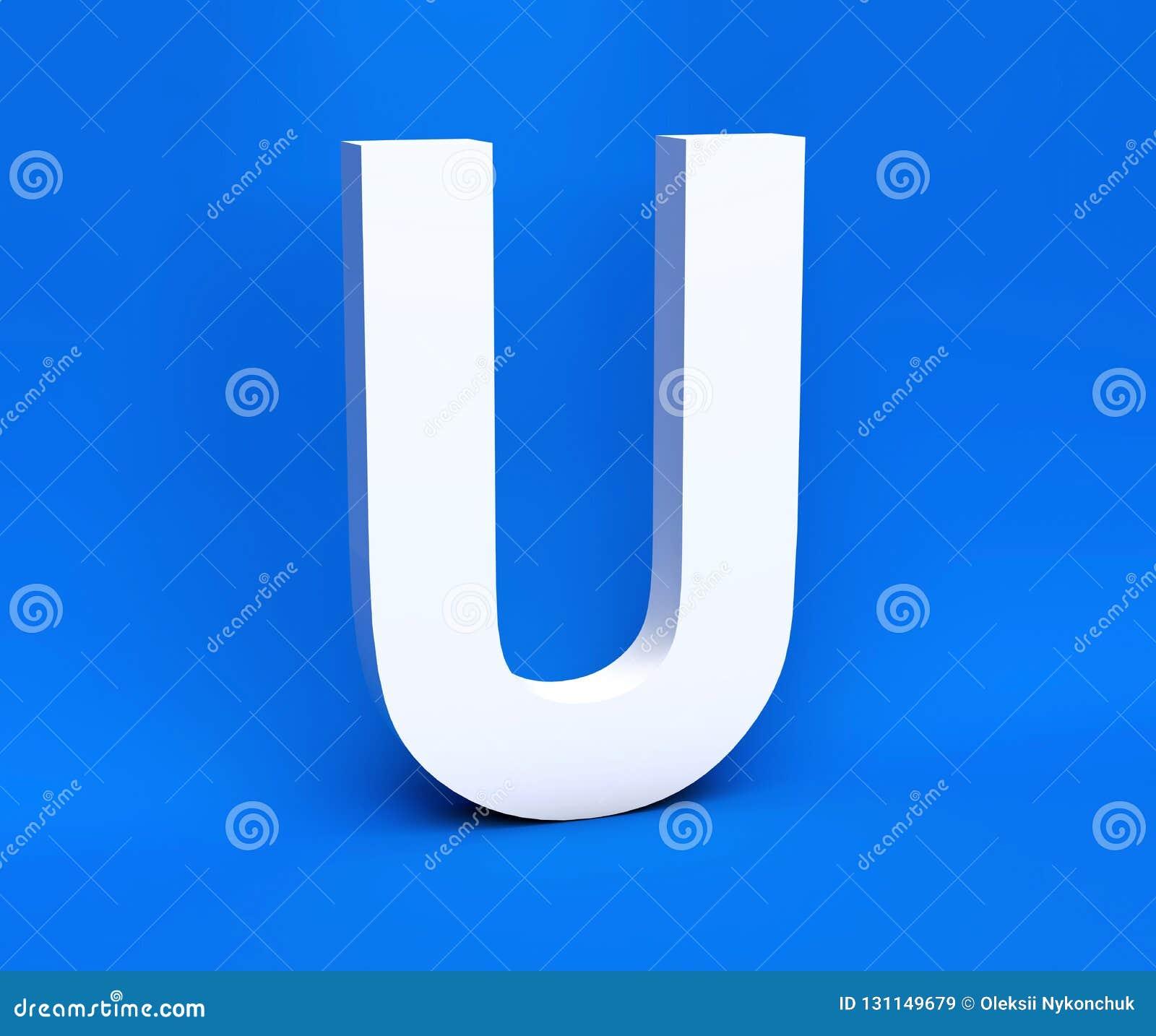 Simbolo bianco U su un fondo blu 3d rendono
