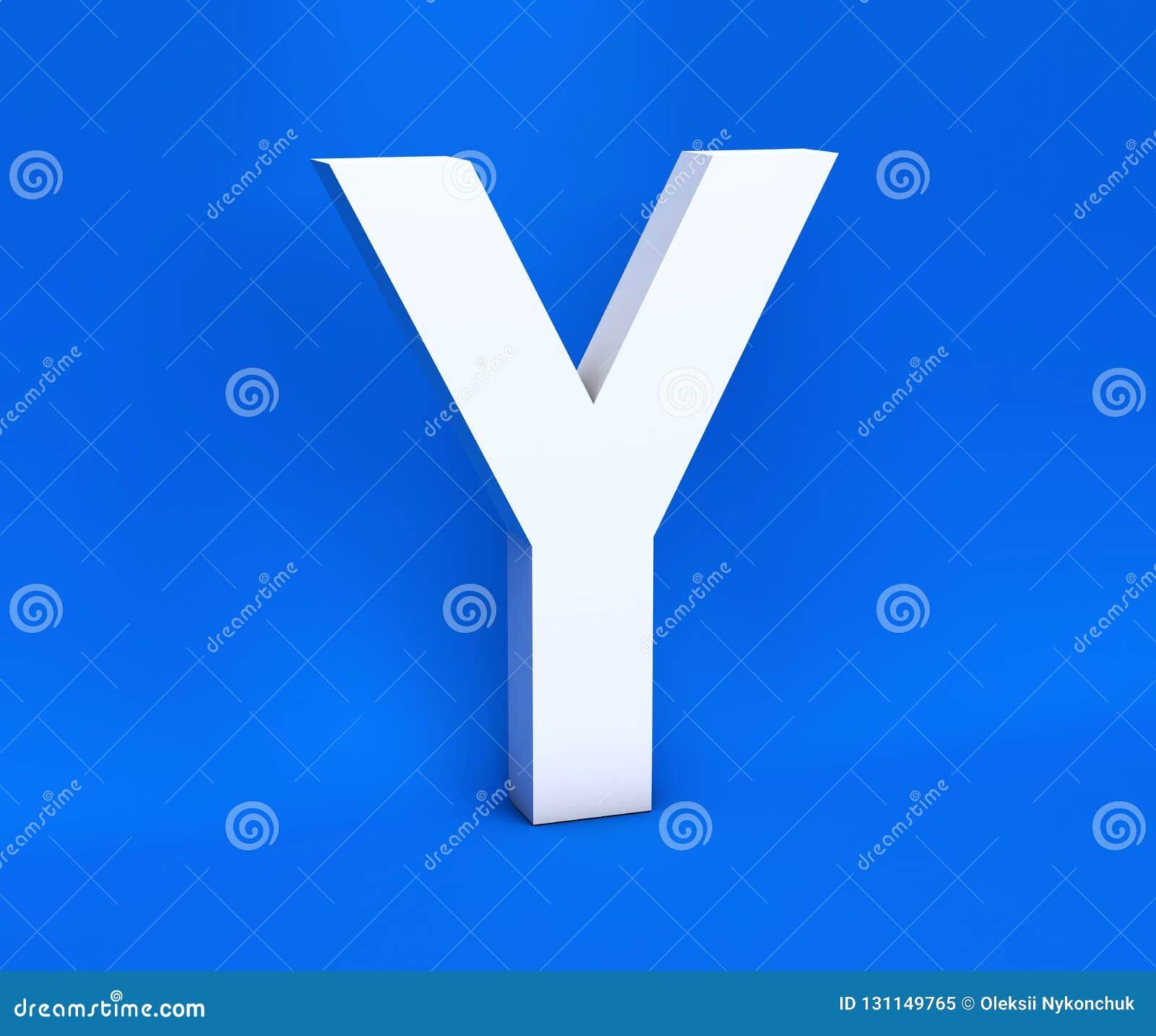 Simbolo bianco Y su un fondo blu 3d rendono
