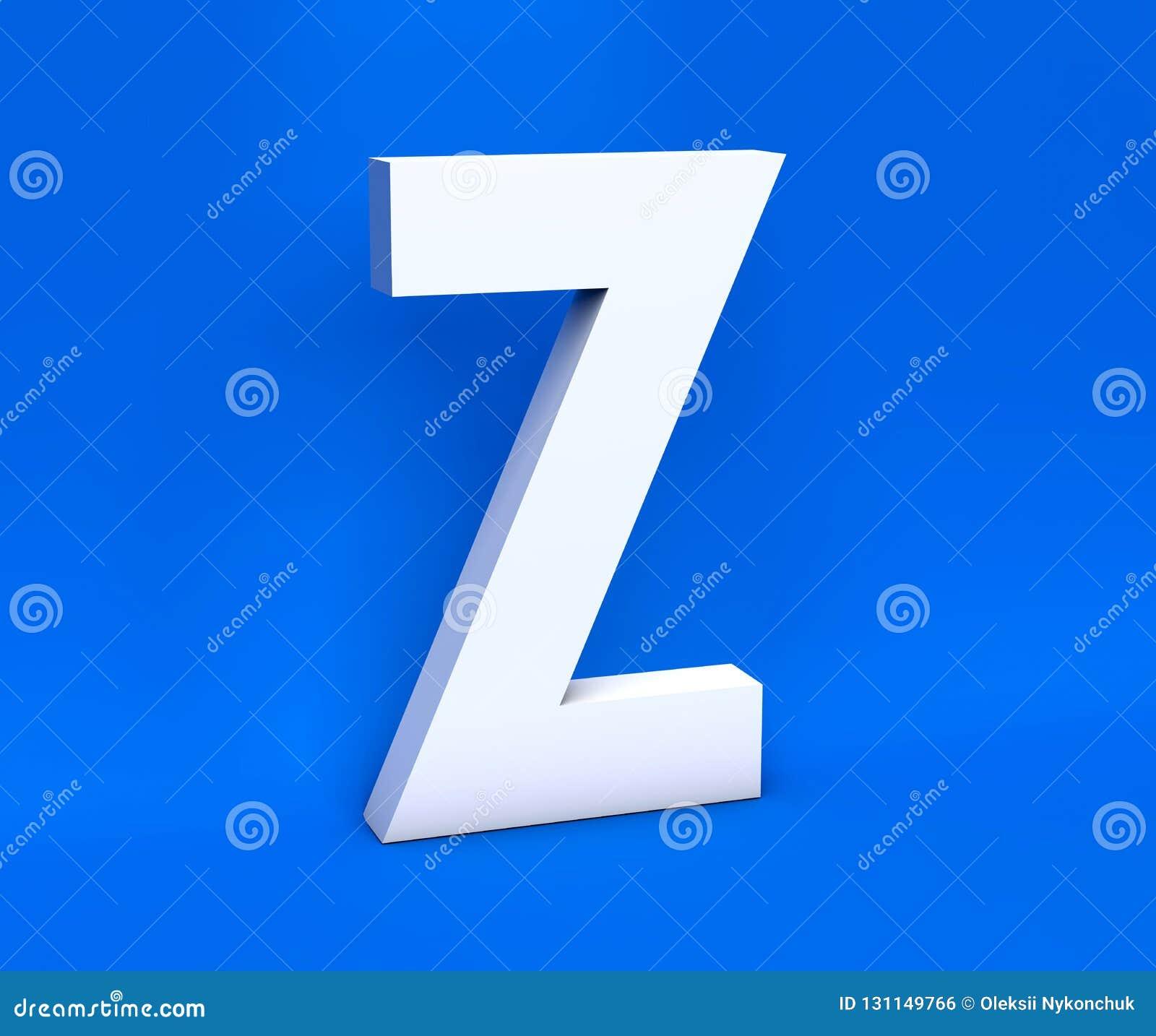 Simbolo bianco Z su un fondo blu 3d rendono