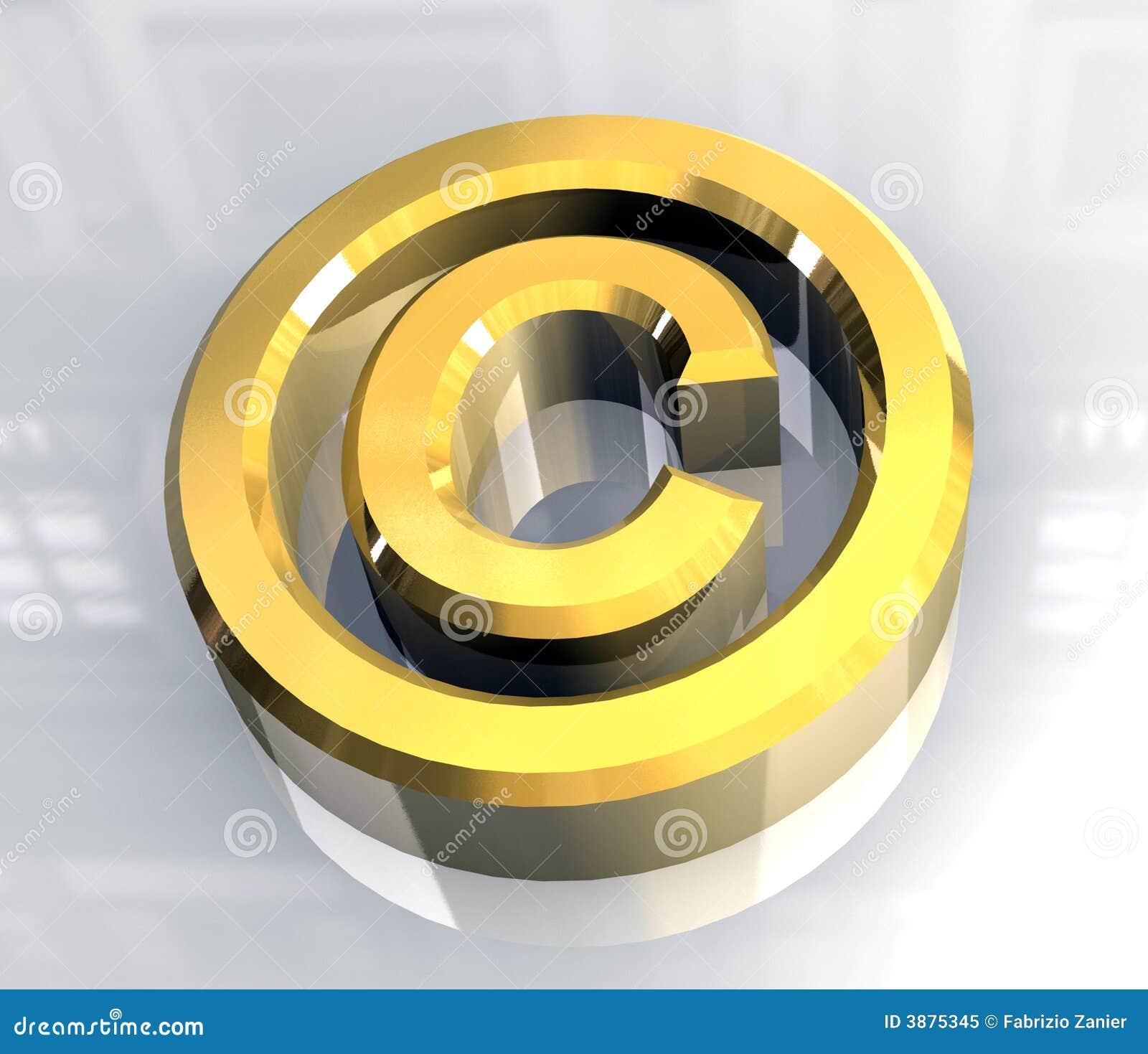 Simbolo del copyright in oro (3d)