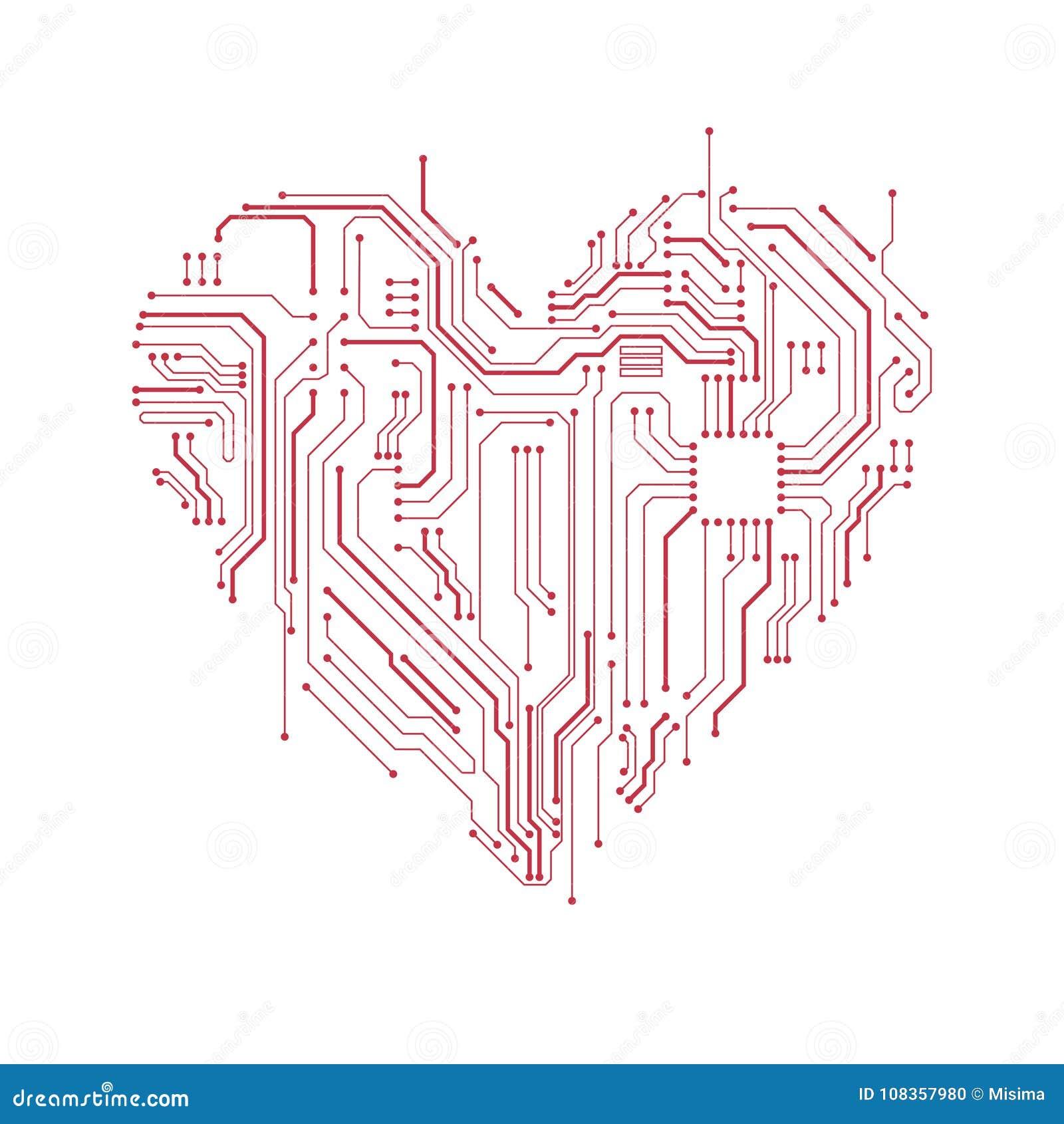 Simbolo del cuore del circuito