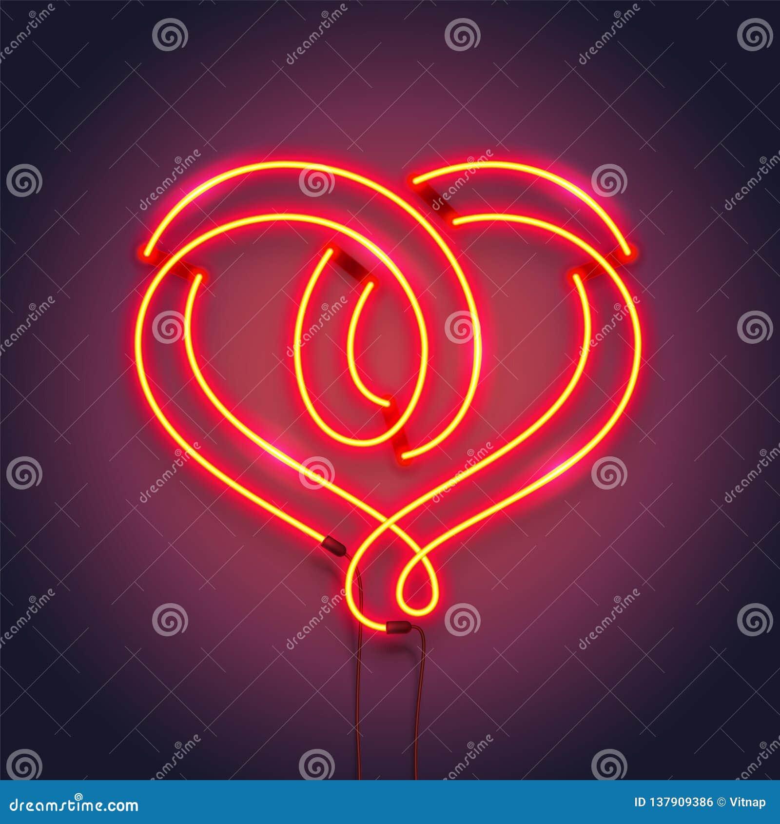 Simbolo del cuore fatto dei tubi al neon Progettazione romantica della decorazione illustrazione realistica di vettore