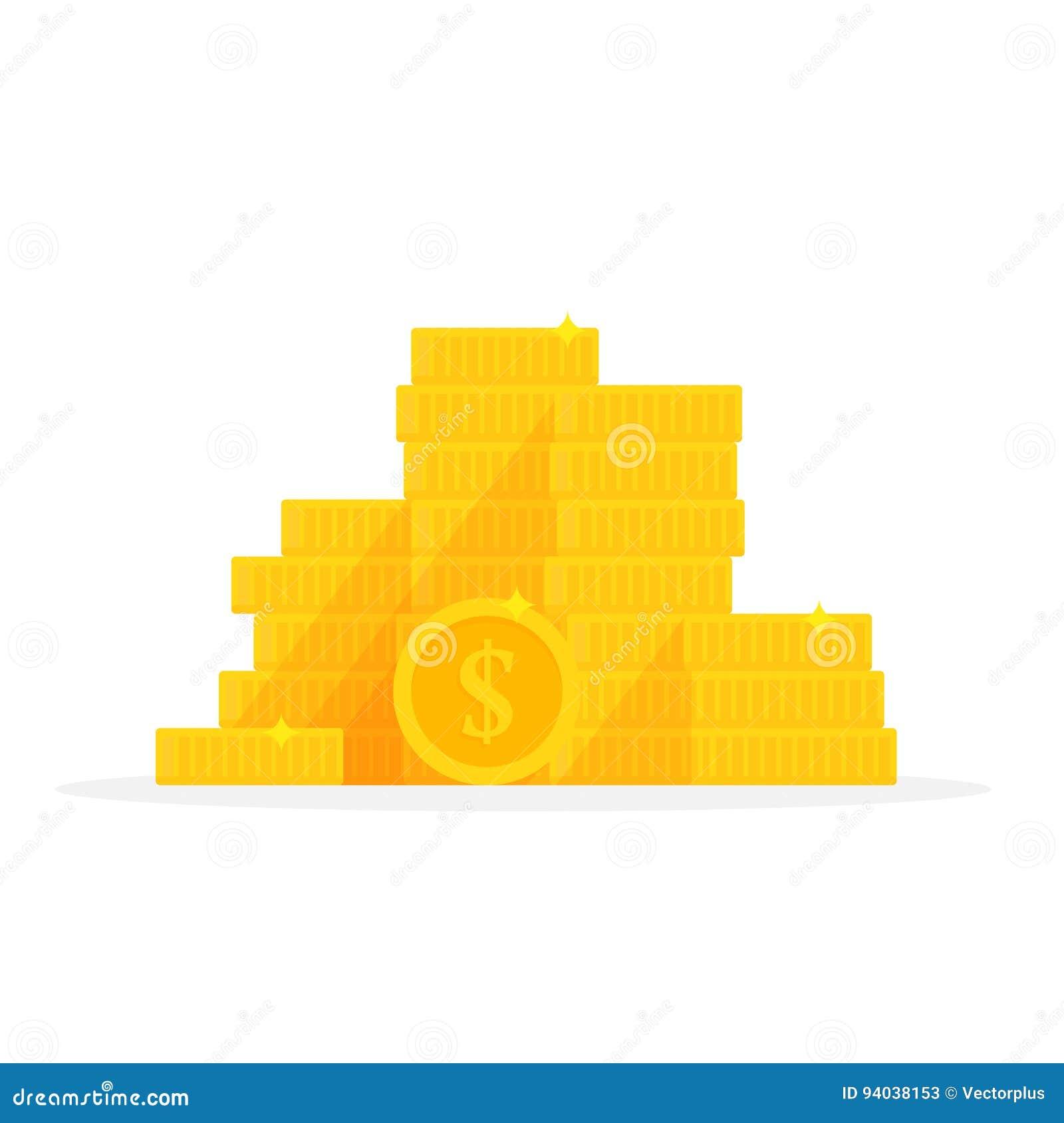 Simbolo del dollaro della pila delle monete di oro Illustrazione di vettore del fumetto del mucchio dei soldi