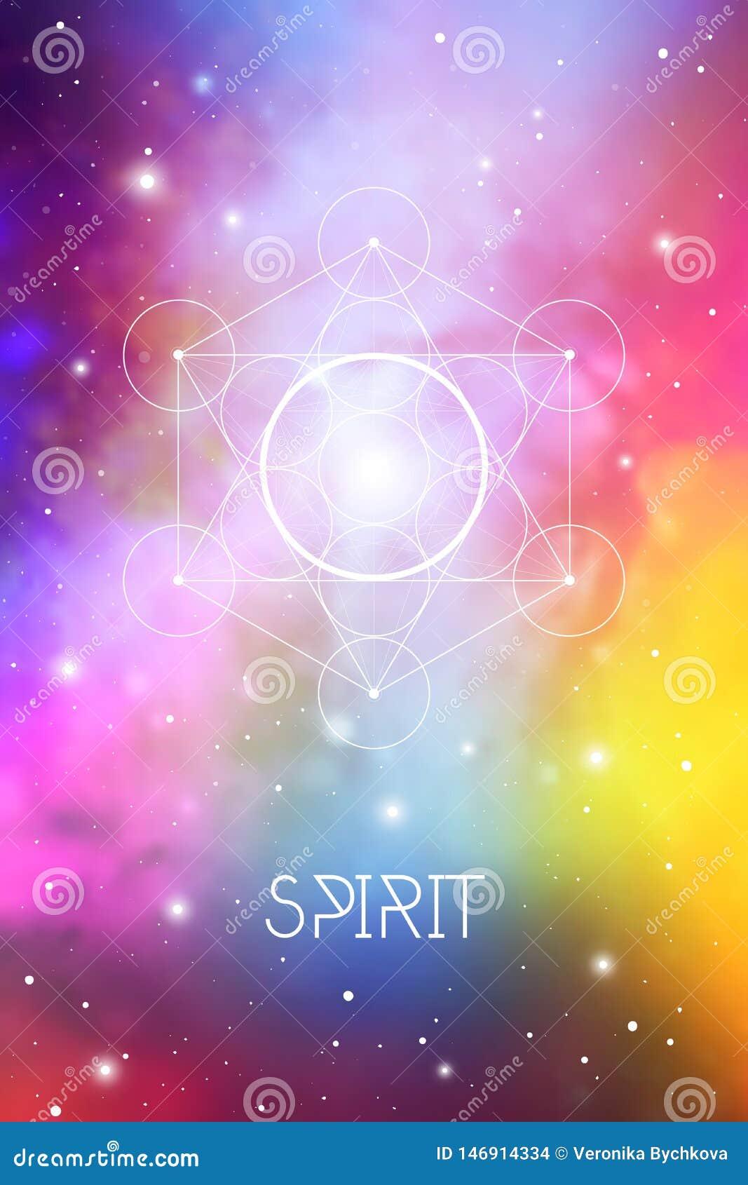 Simbolo dell elemento di spirito dentro il cubo di Metatron ed il fiore di vita davanti al fondo cosmico dello spazio cosmico La