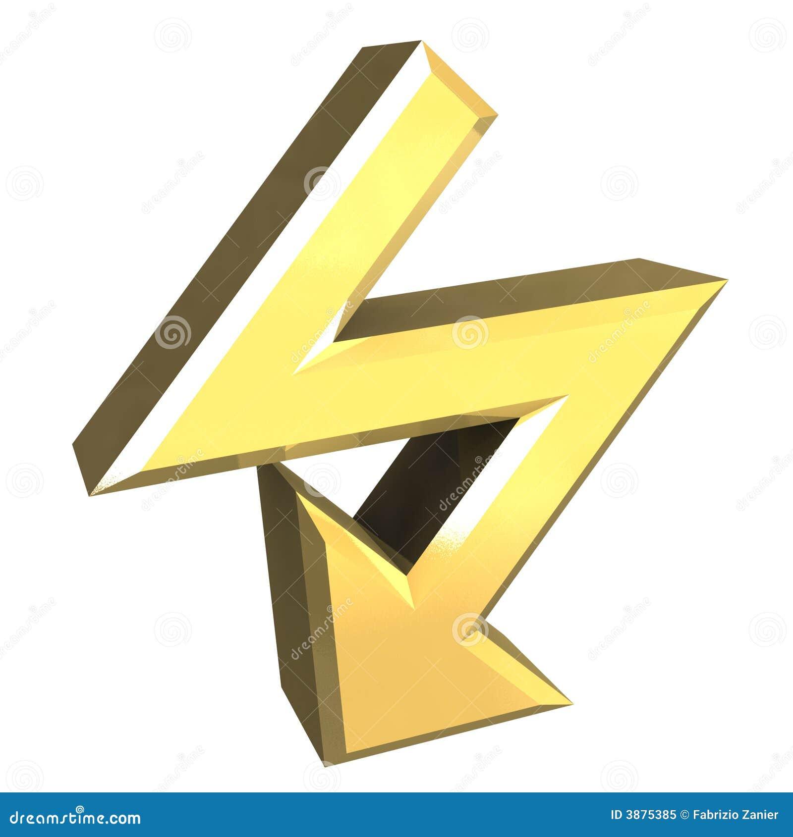 Simbolo della freccia in oro - 3D
