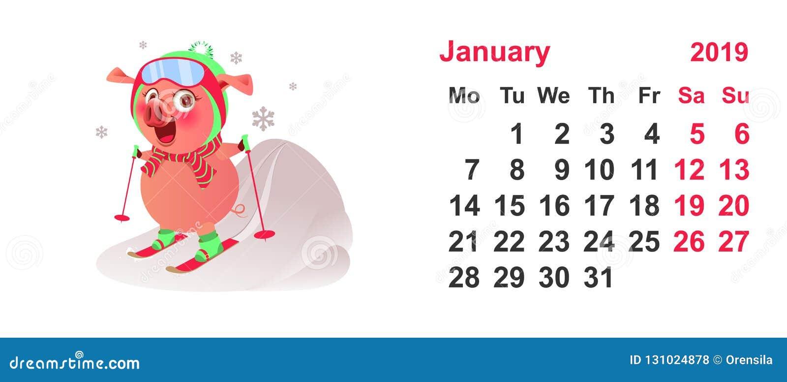 Sci Calendario.Simbolo Dello Sci Del Maiale 2019 Anni Griglia Gennaio Del