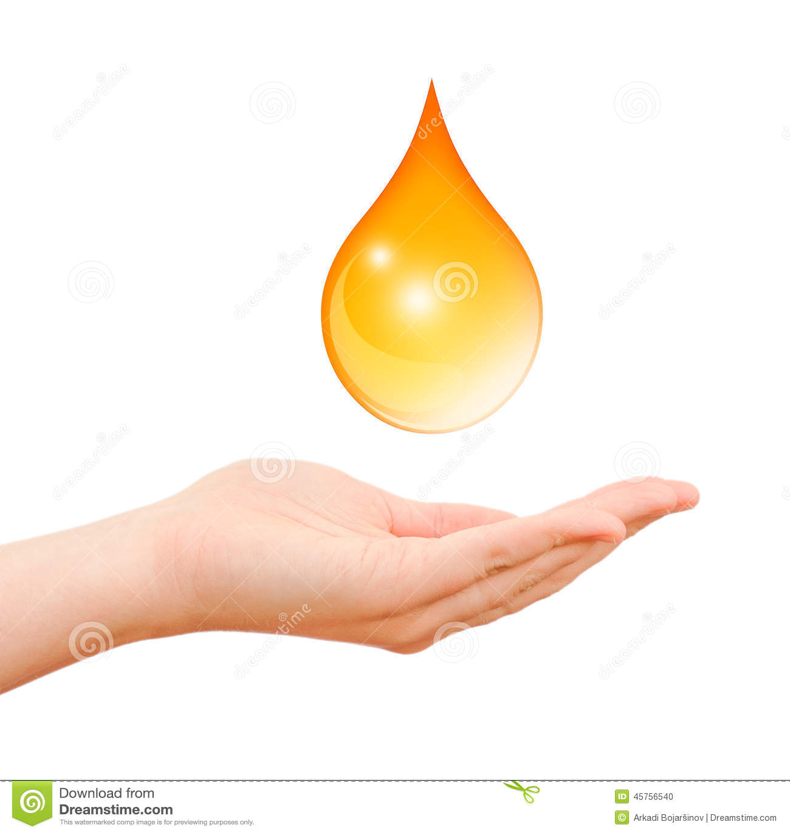 Simbolo di cura della mano con goccia dell olio