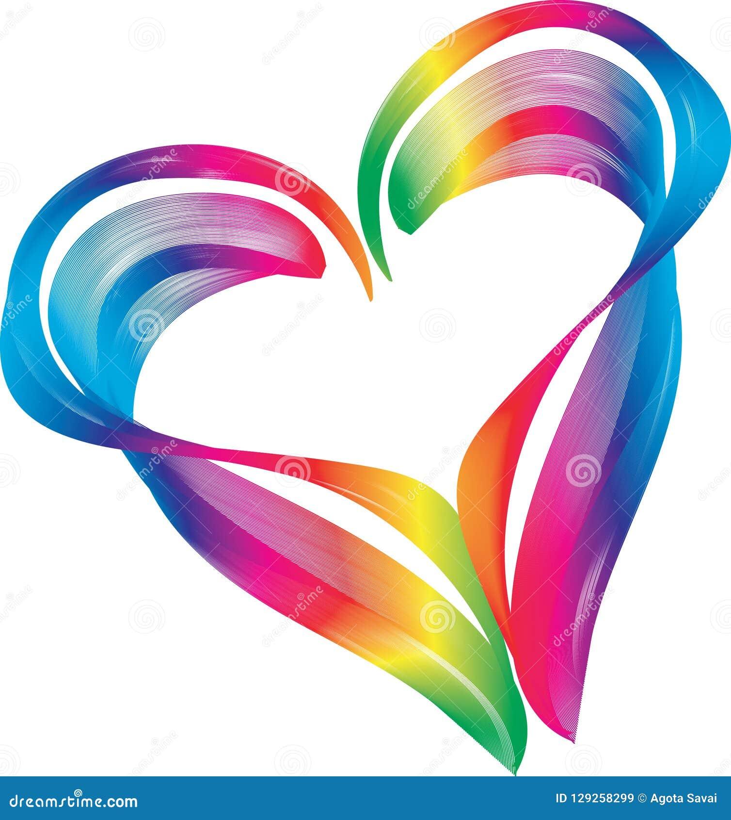 Simbolo di forma del cuore di colore dell arcobaleno