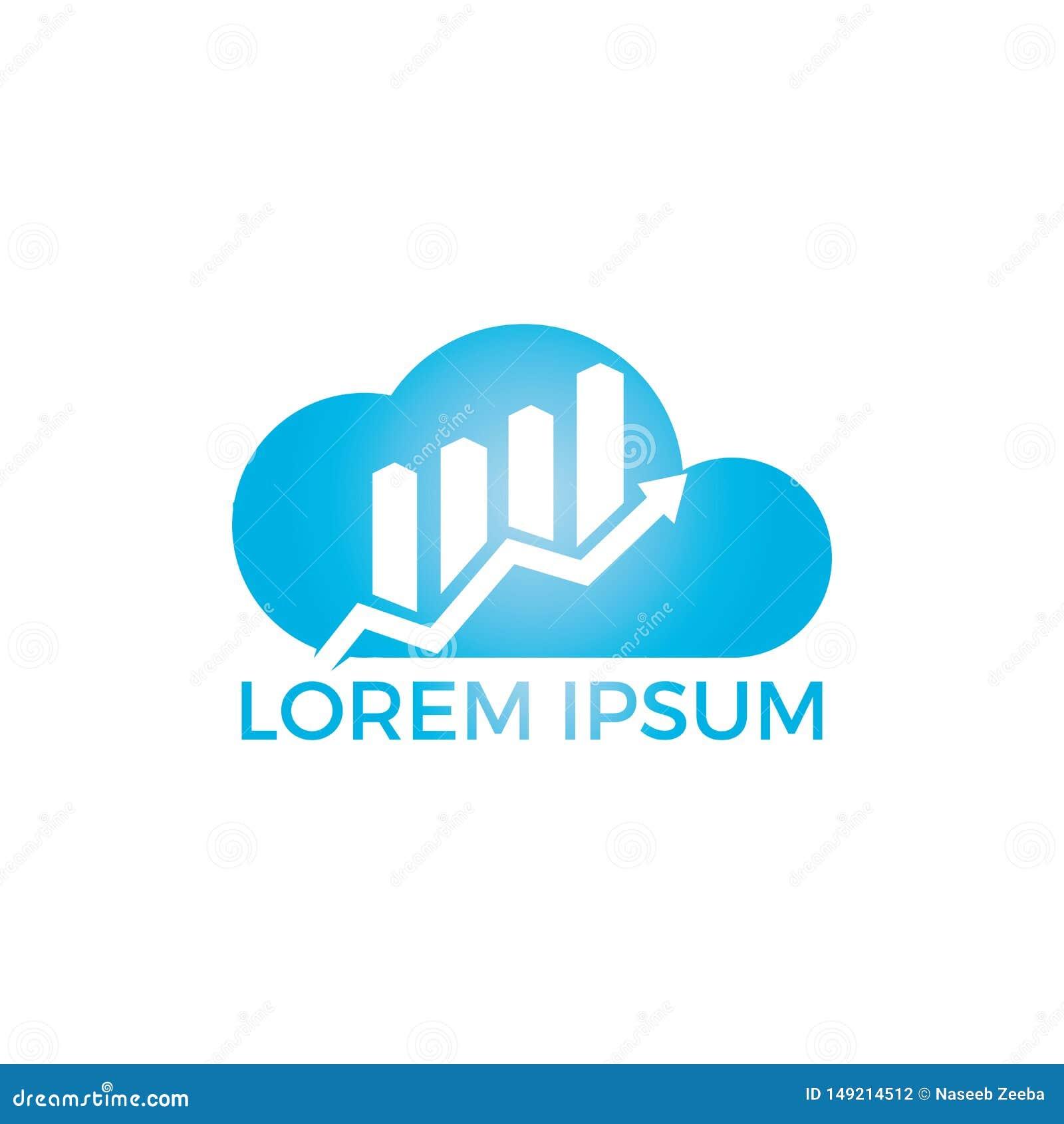 Simbolo di logo dell estratto di affari della nuvola Concetto creativo di simbolo di crescita