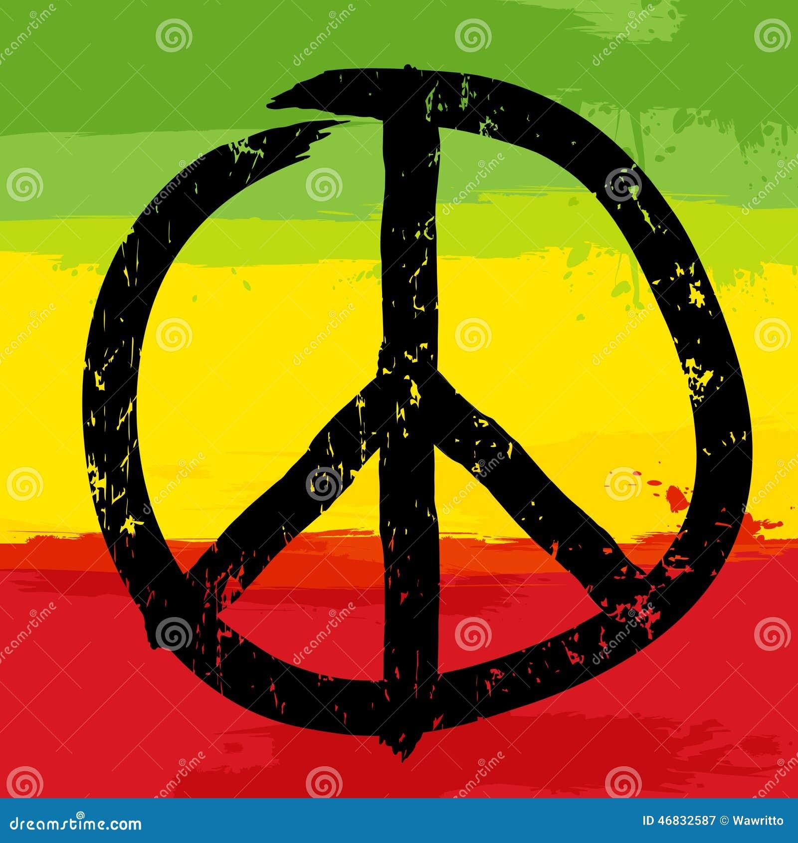 Rastafarian 2: Simbolo Di Pace E Colori Rastafarian Nel Fondo