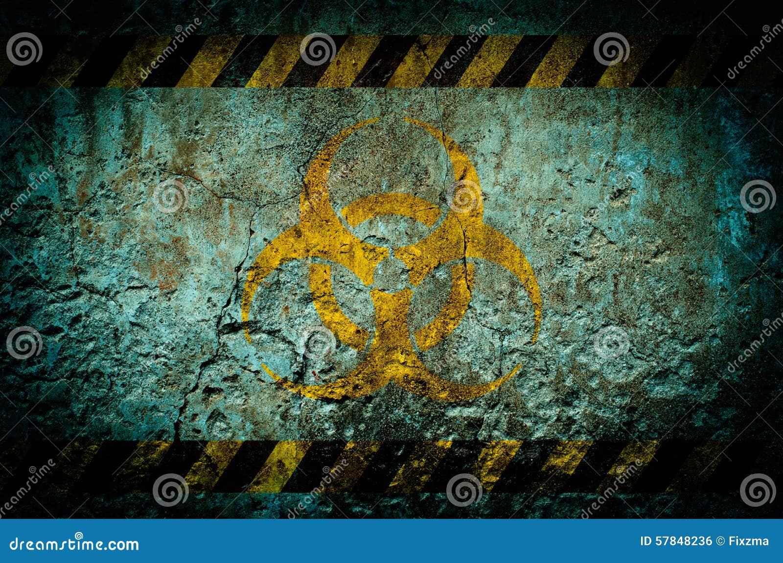 Simbolo di pericolo di radiazione nucleare sul fondo della parete di lerciume
