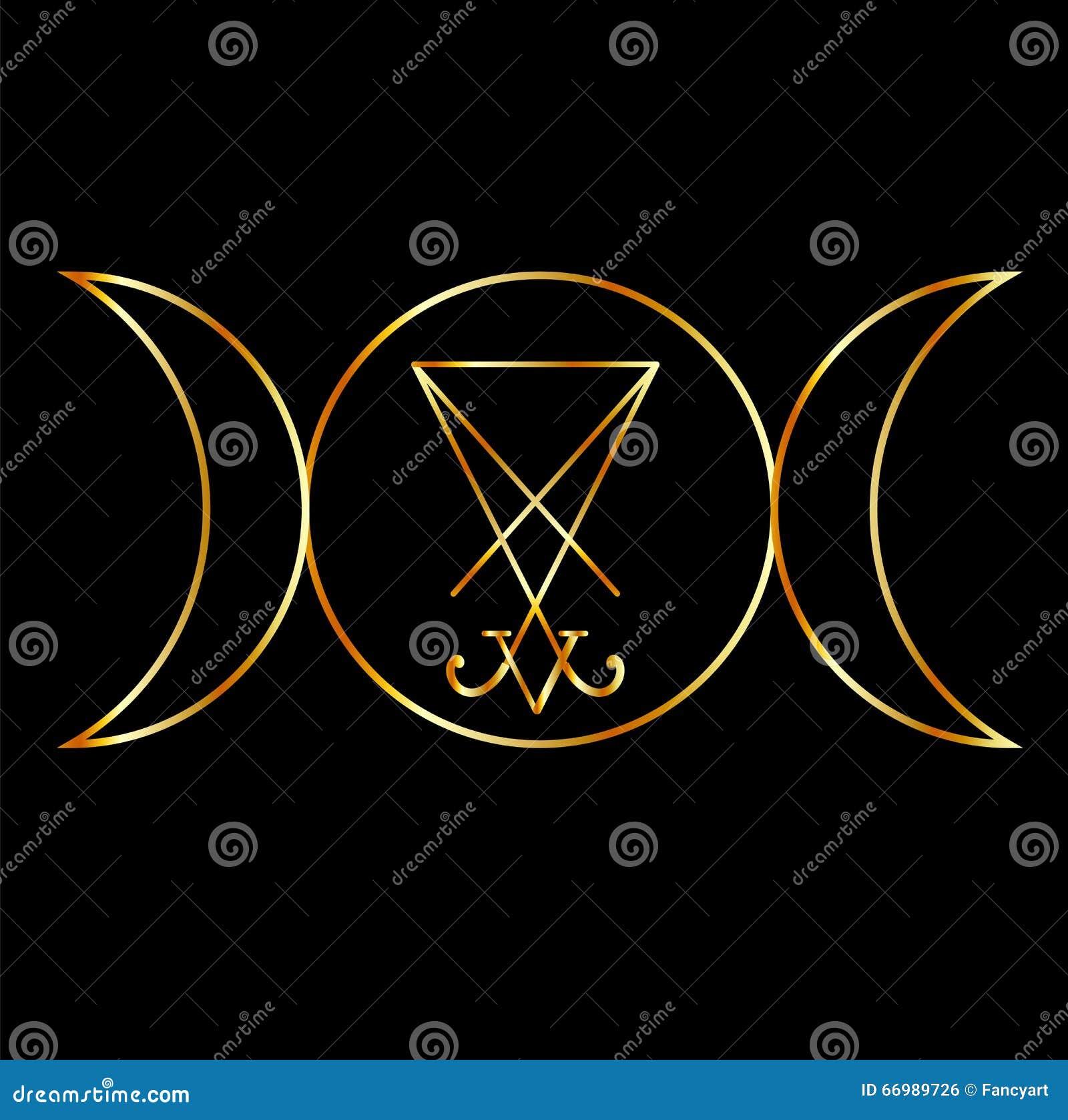 simbolo di wiccan con sigil di lucifero illustrazione