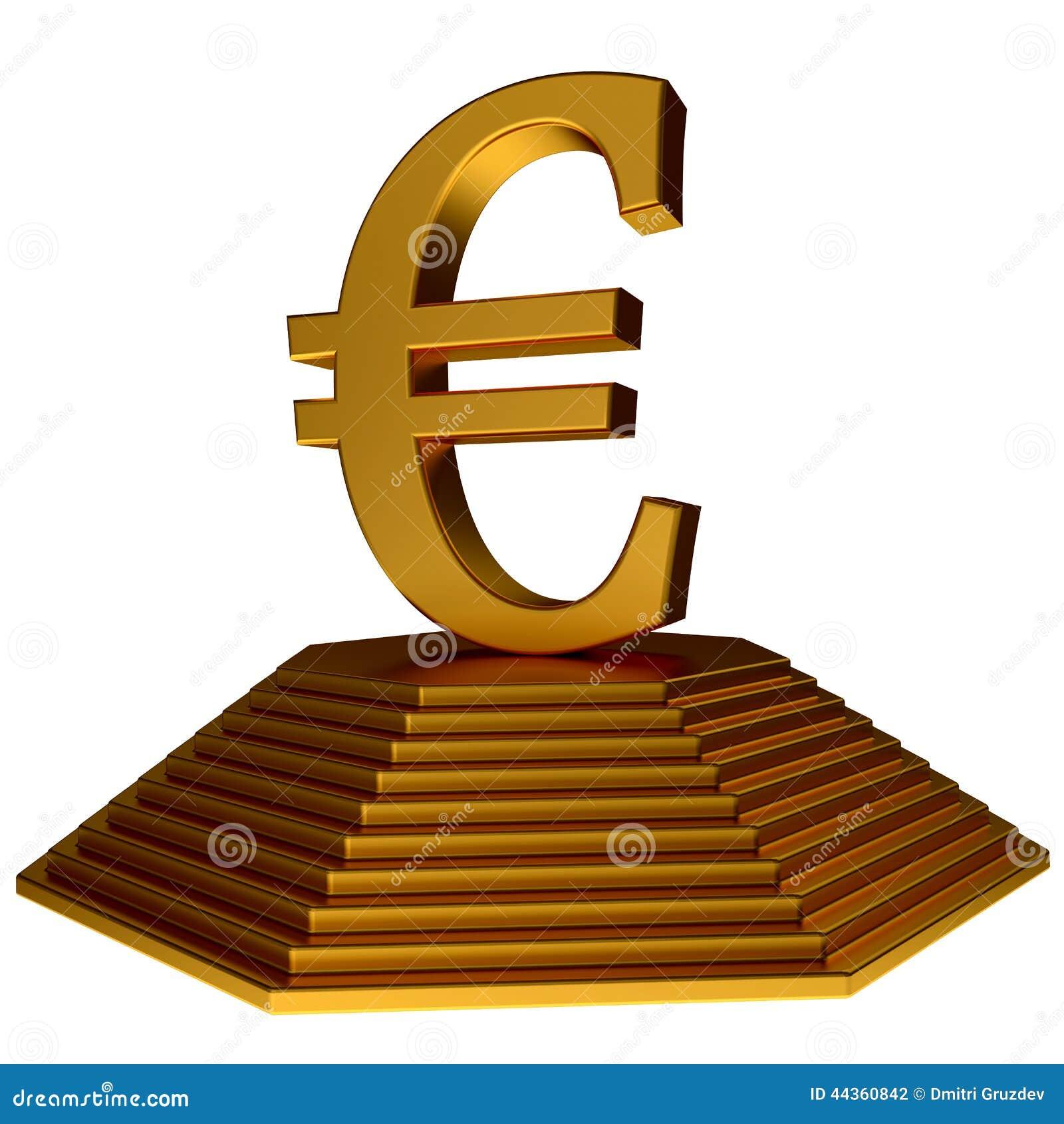 Simbolo dorato dell euro e della piramide