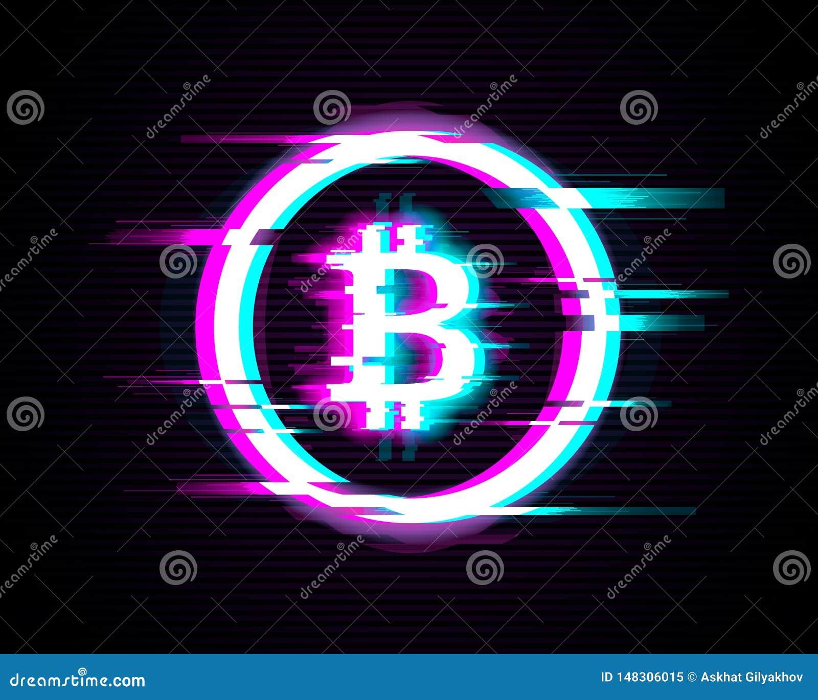 Simbolo illuminato di Bitcoin con effetto di impulso errato su fondo moderno