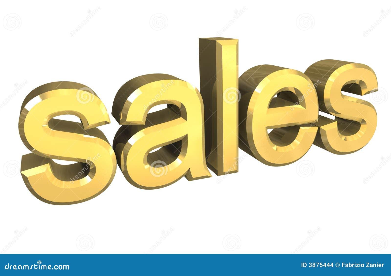 Simbolo isolato di vendite in oro - 3d