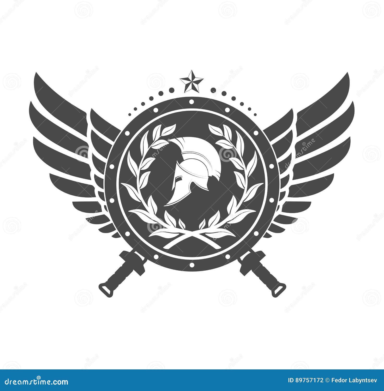 Simbolo militare un casco spartano su un bordo con fra le ali