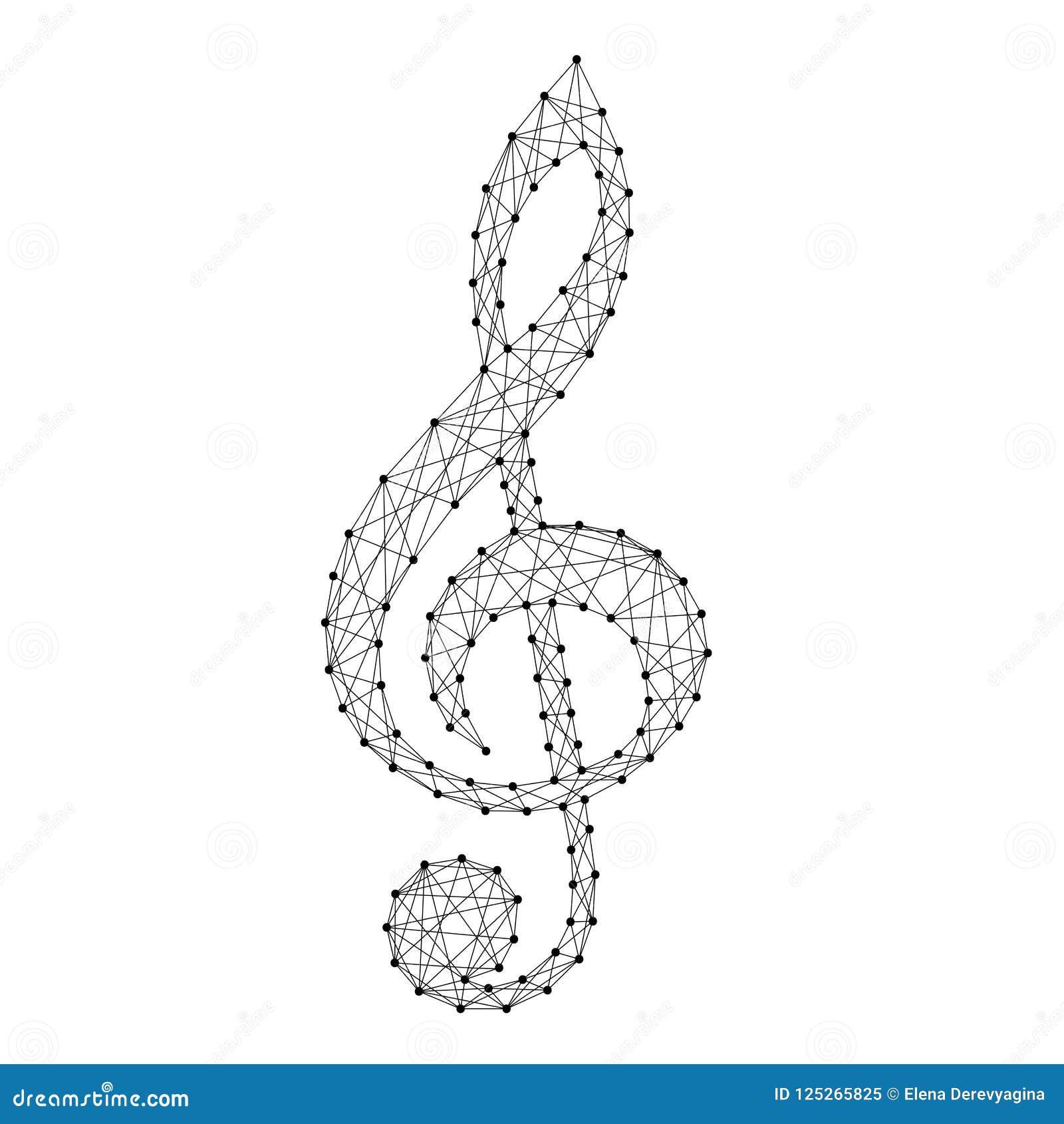 Simbolo musicale della chiave tripla da blac poligonale futuristico astratto